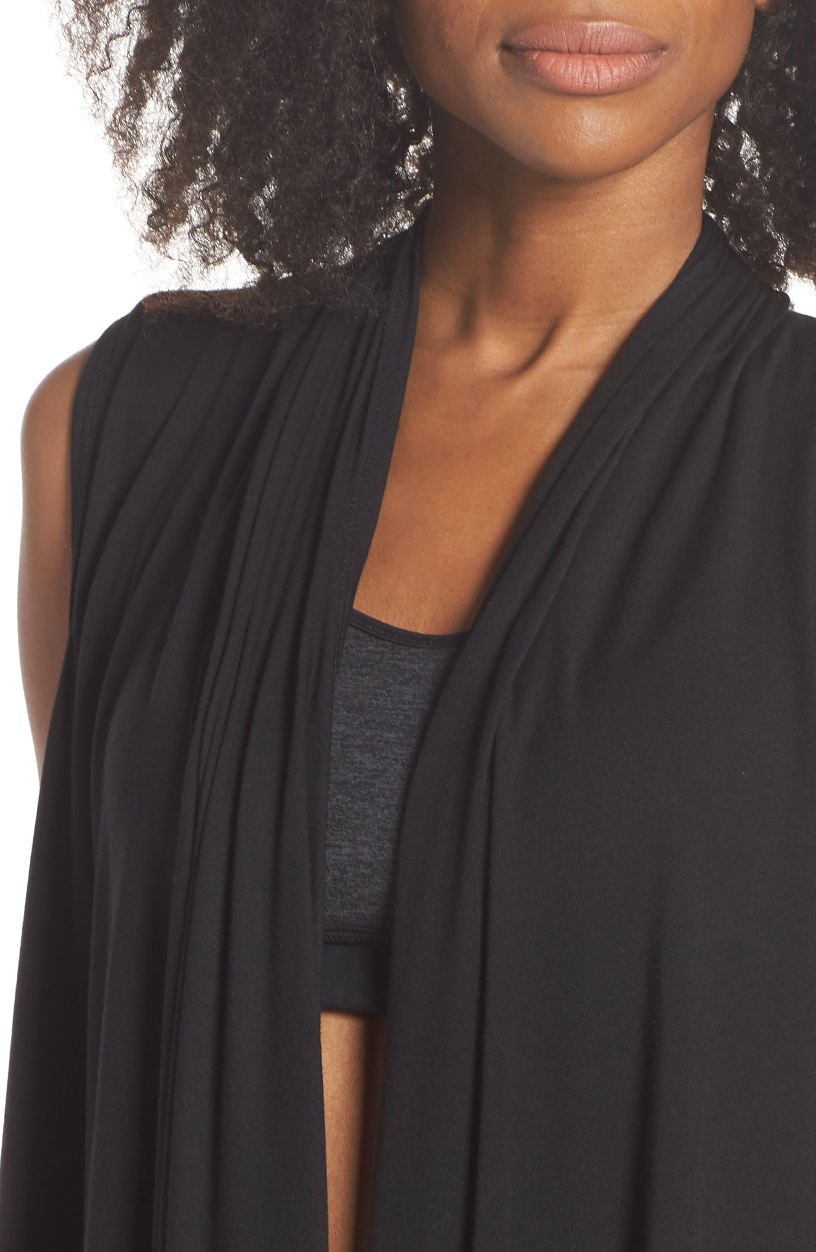 Sleeveless Cardigan,                             Alternate thumbnail 4, color,                             BLACK