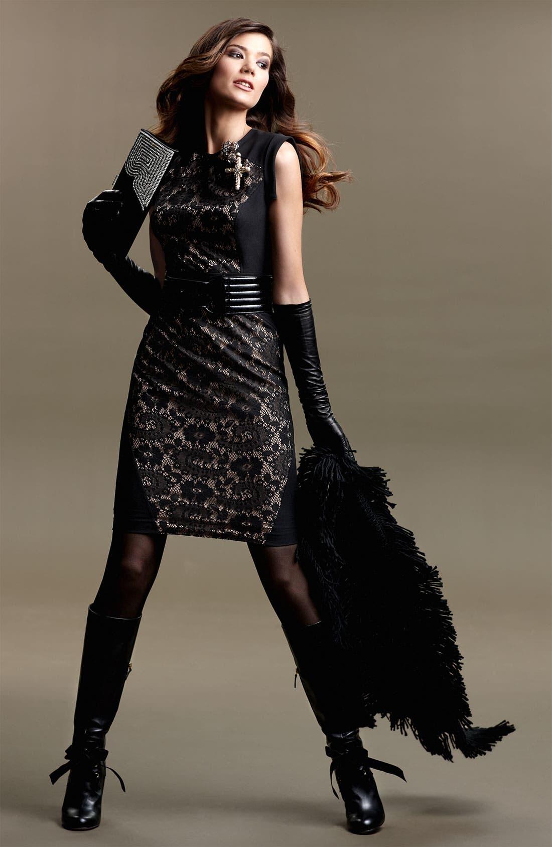 Lace Inset Crepe Sheath Dress,                             Alternate thumbnail 5, color,                             001