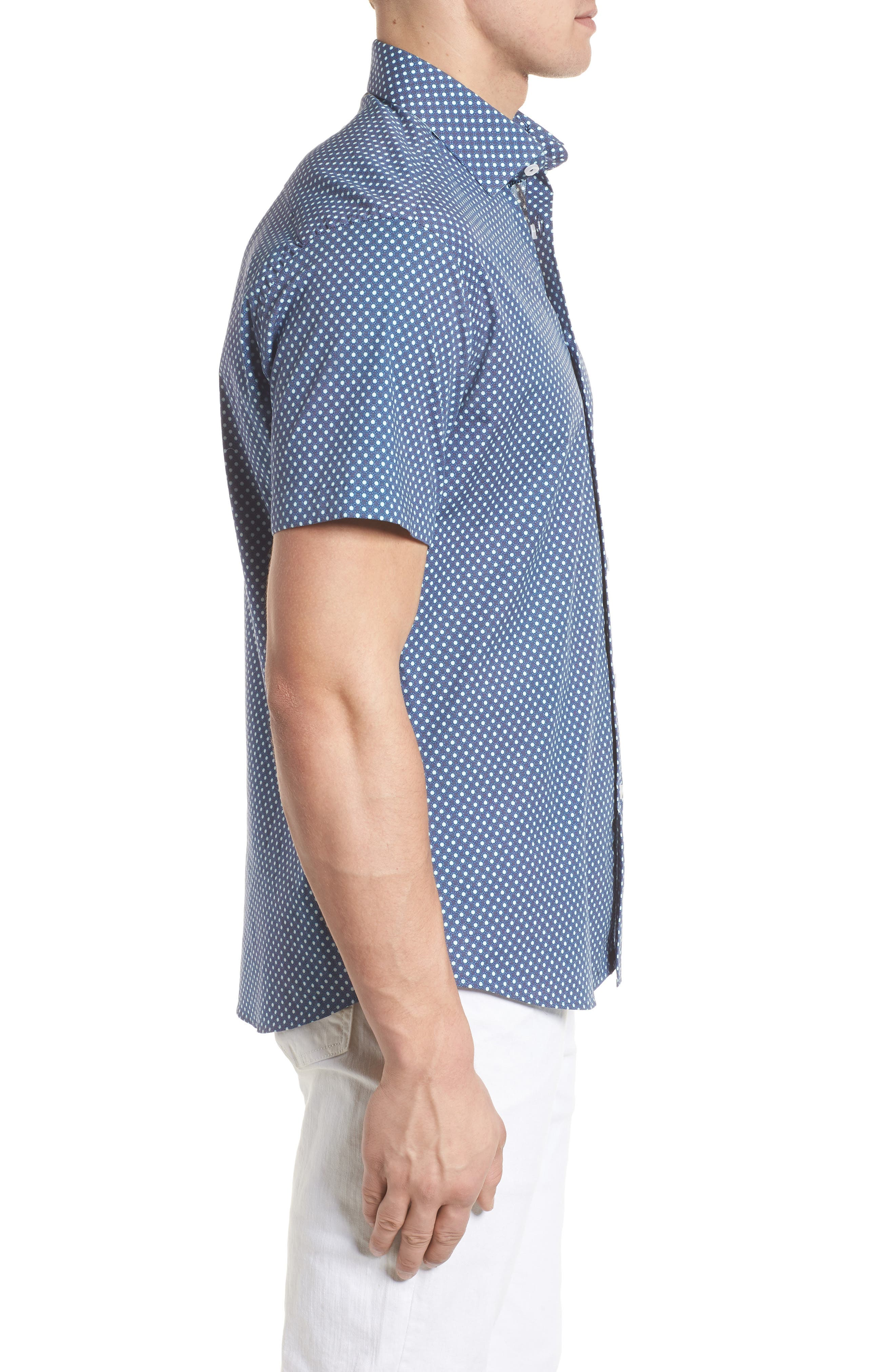 Woven Sport Shirt,                             Alternate thumbnail 3, color,                             NAVY