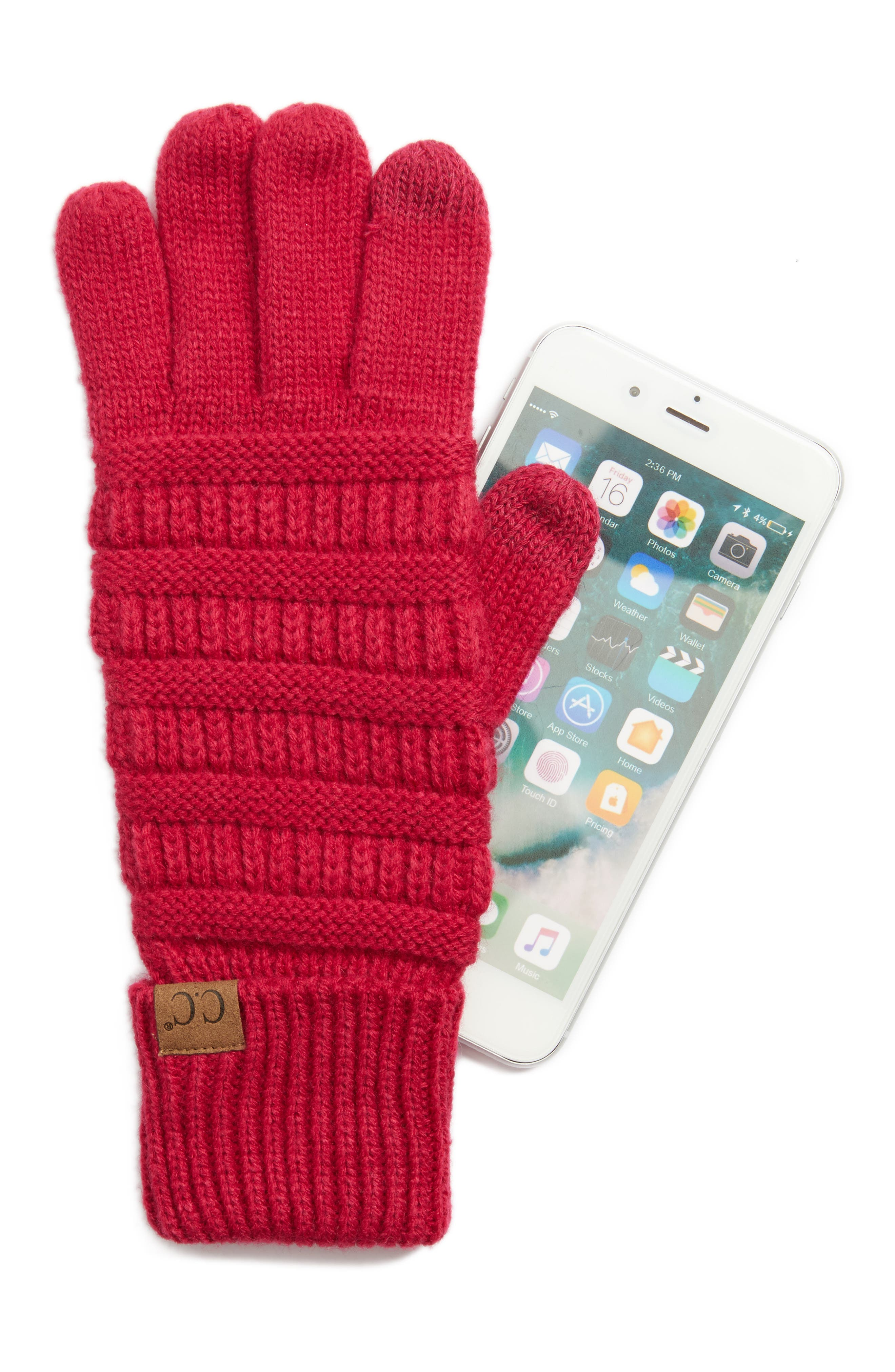 Rib Knit Tech Gloves,                             Alternate thumbnail 14, color,