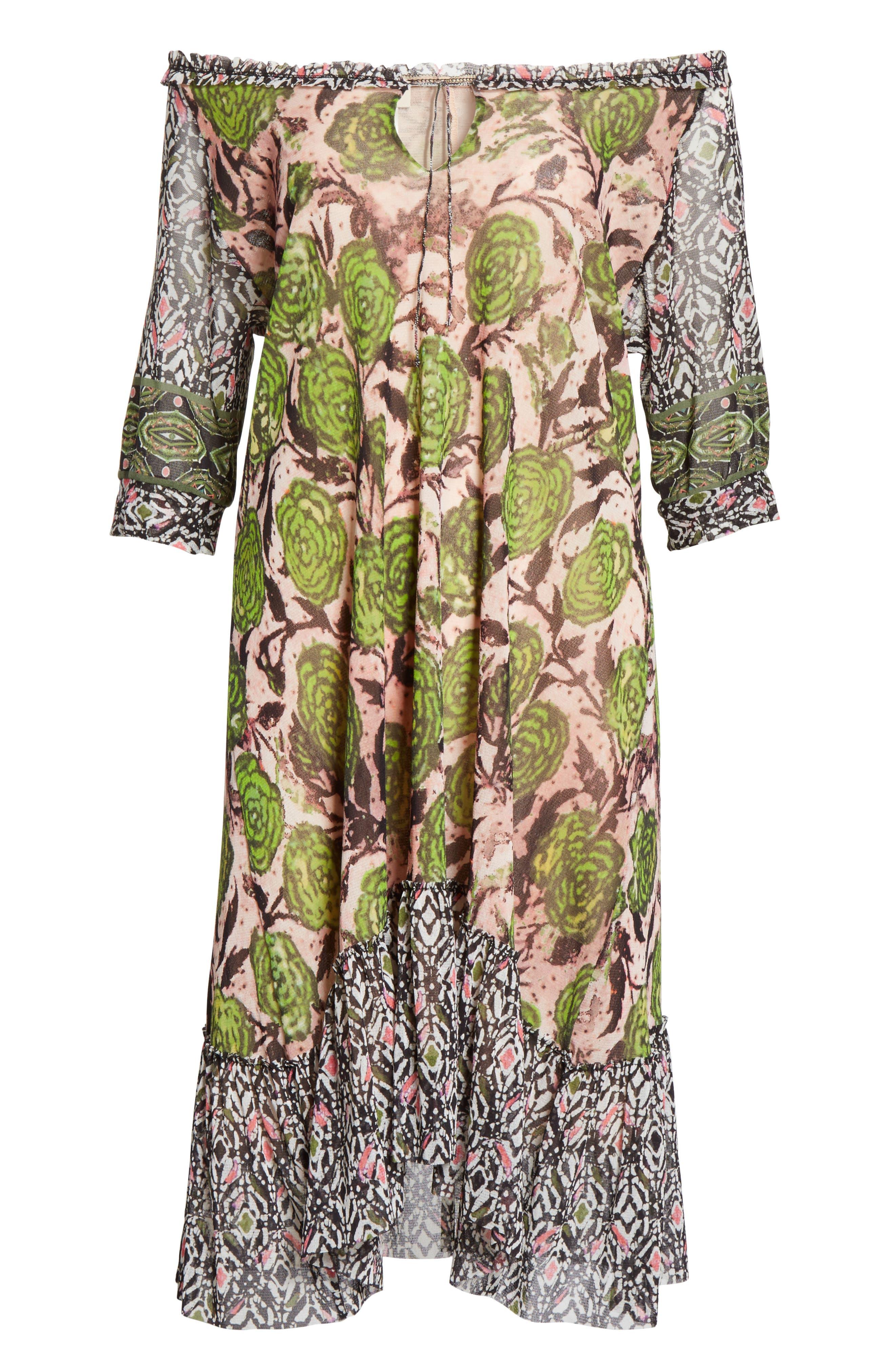 Print Tulle Peasant Dress,                             Alternate thumbnail 6, color,