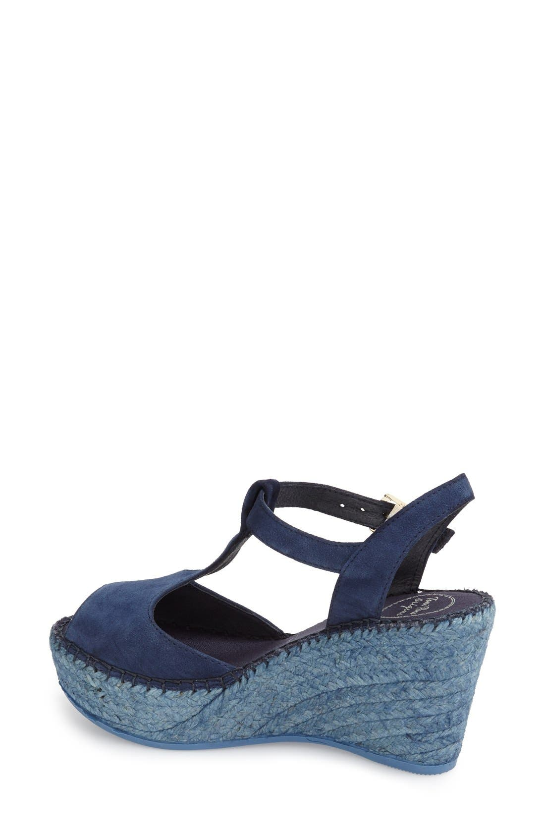 Lidia T-Strap Espadrille Wedge,                             Alternate thumbnail 2, color,                             NAVY SUEDE