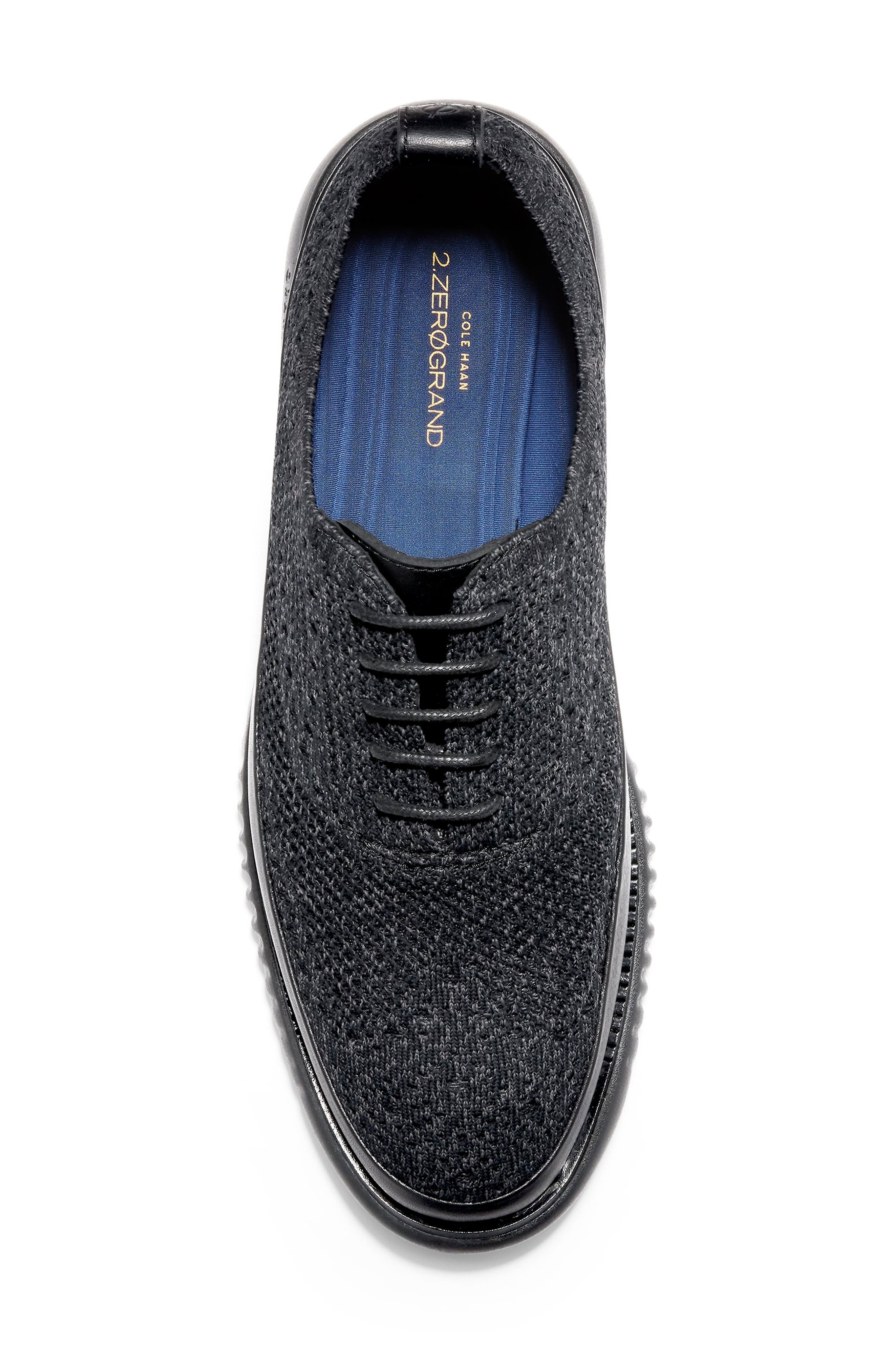 2.ZeroGrand Stitchlite Water Resistant Wingtip,                             Alternate thumbnail 5, color,                             BLACK KNIT
