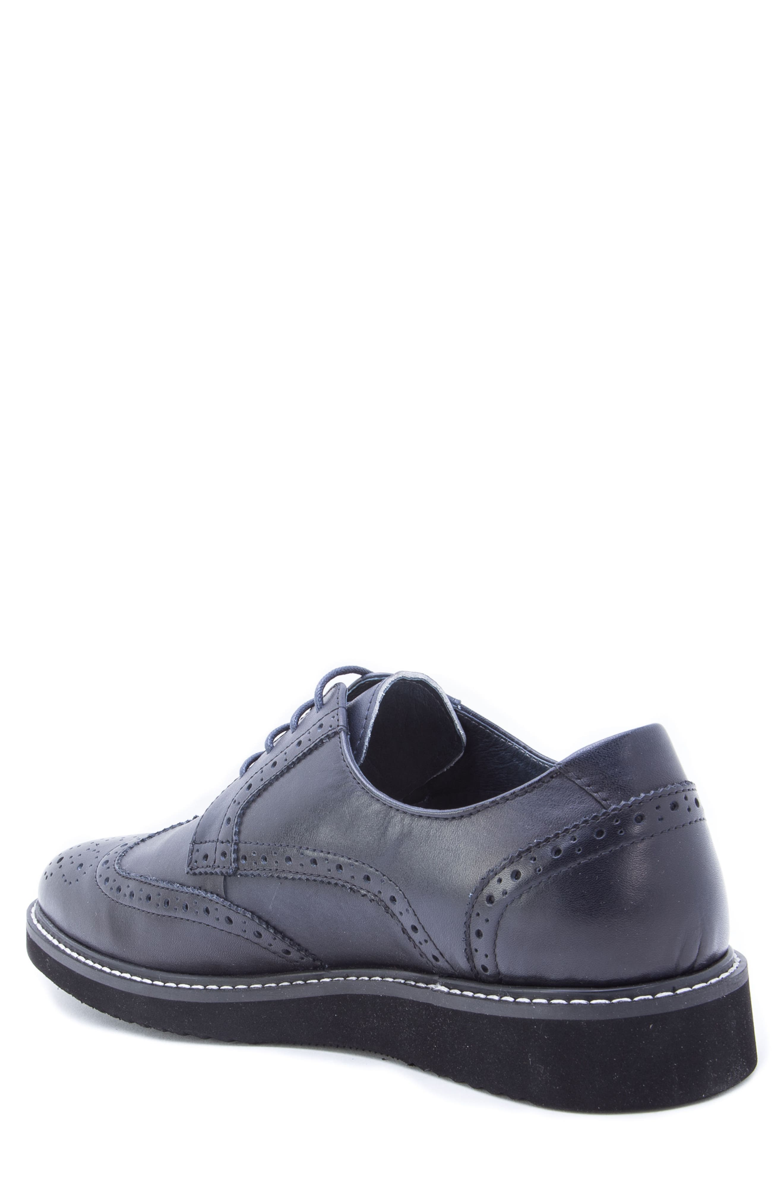 Siena Wingtip Derby,                             Alternate thumbnail 2, color,                             NAVY LEATHER