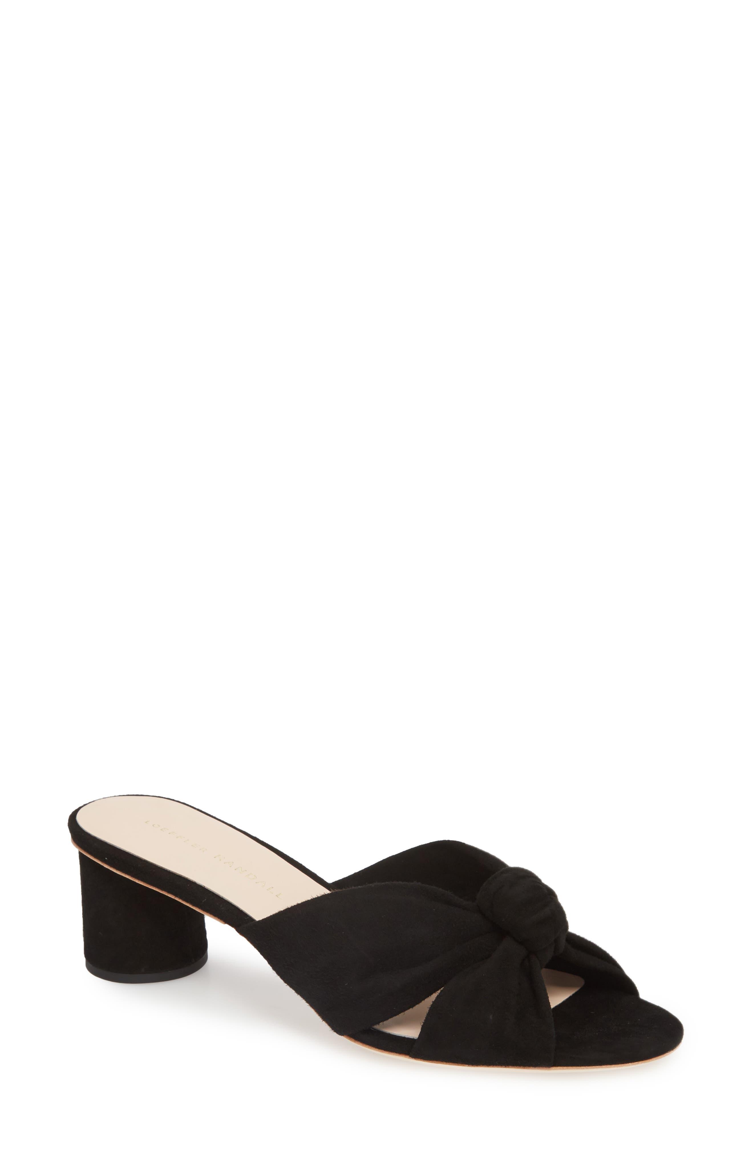 Loeffler Randal Celeste Knotted Slide Sandal,                             Main thumbnail 1, color,                             BLACK