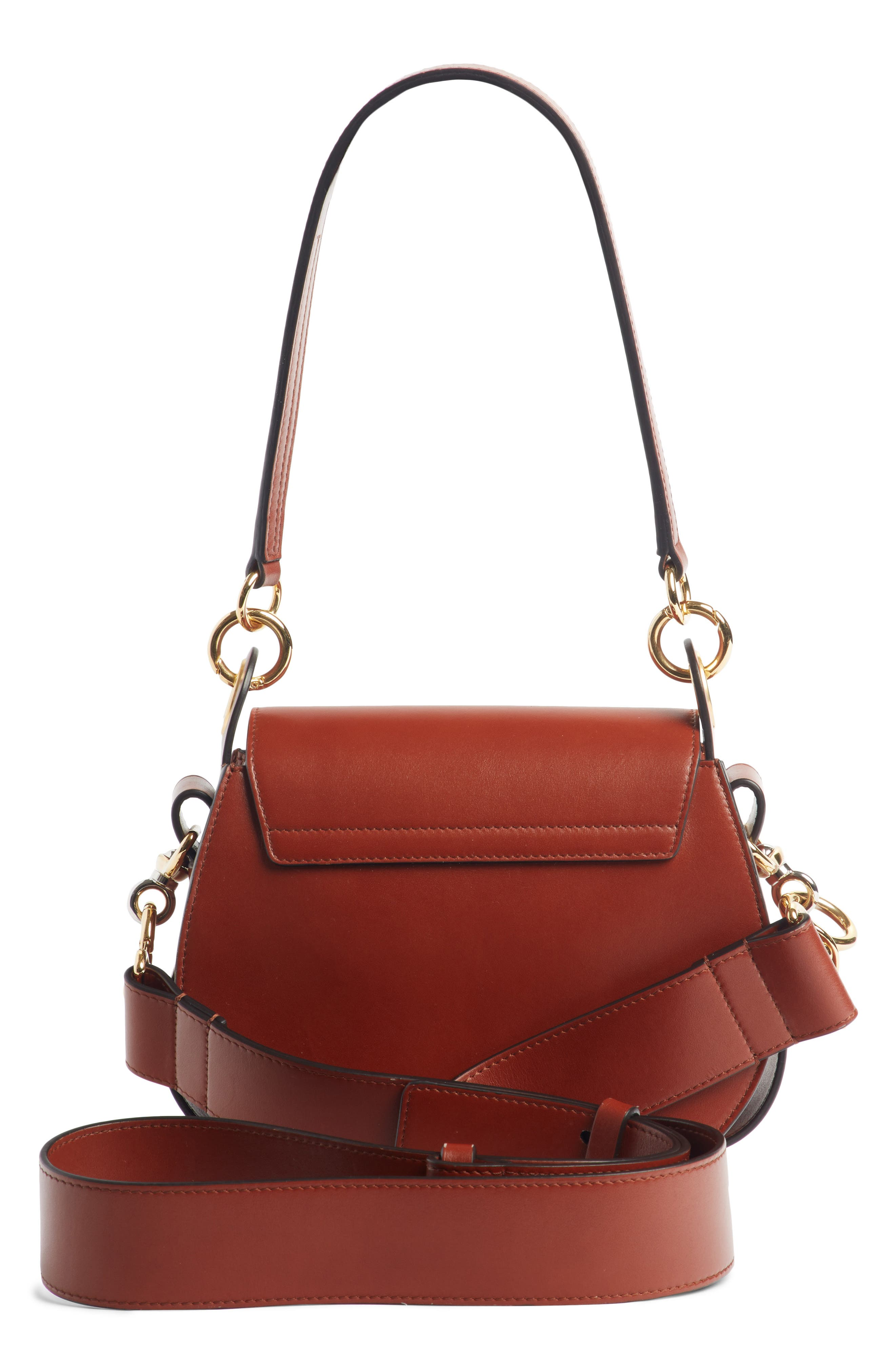 Small Tess Calfskin Leather Shoulder Bag,                             Alternate thumbnail 3, color,                             SEPIA BROWN