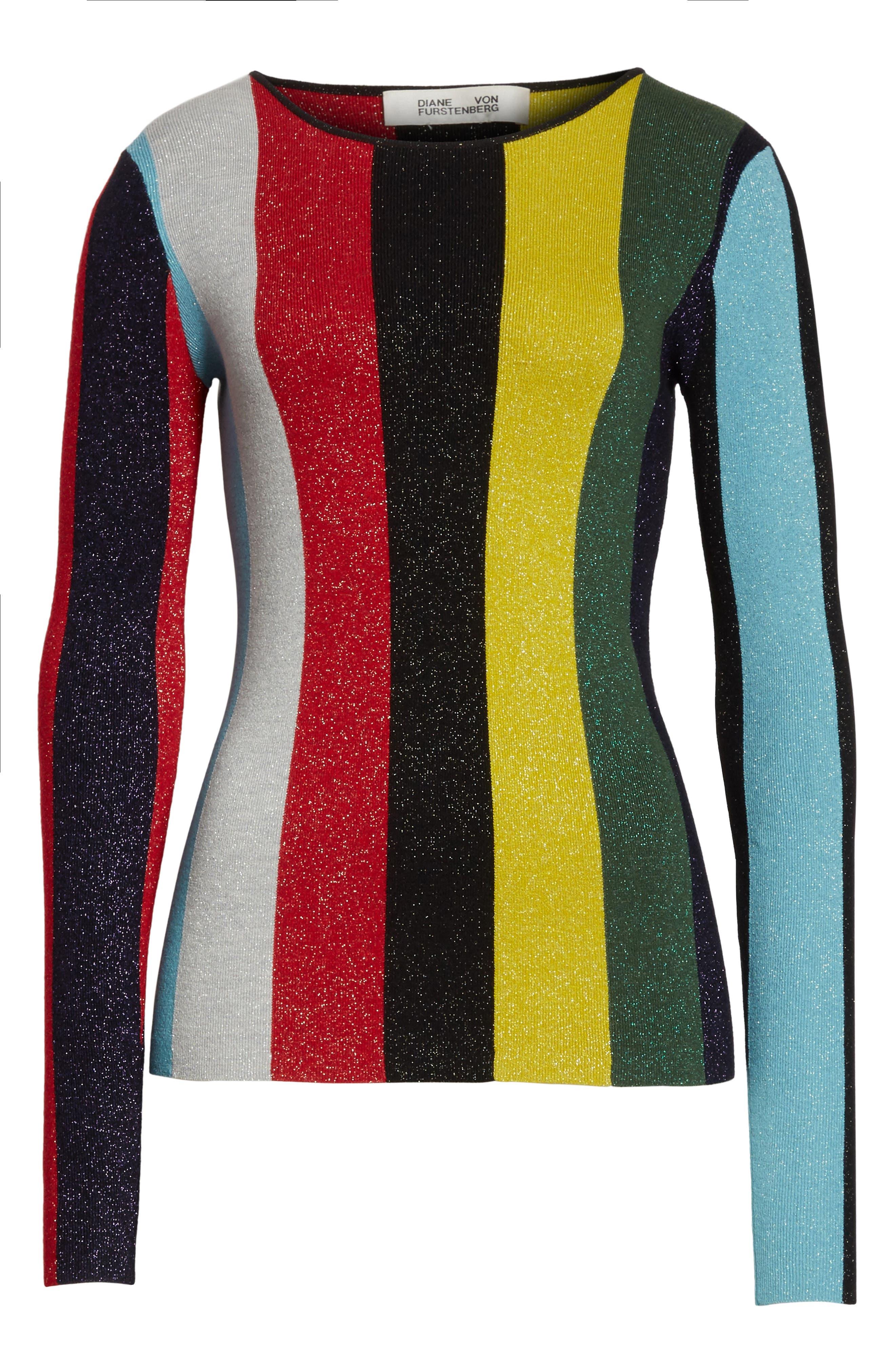 Diane von Furstenberg Metallic Stripe Sweater,                             Alternate thumbnail 5, color,                             008