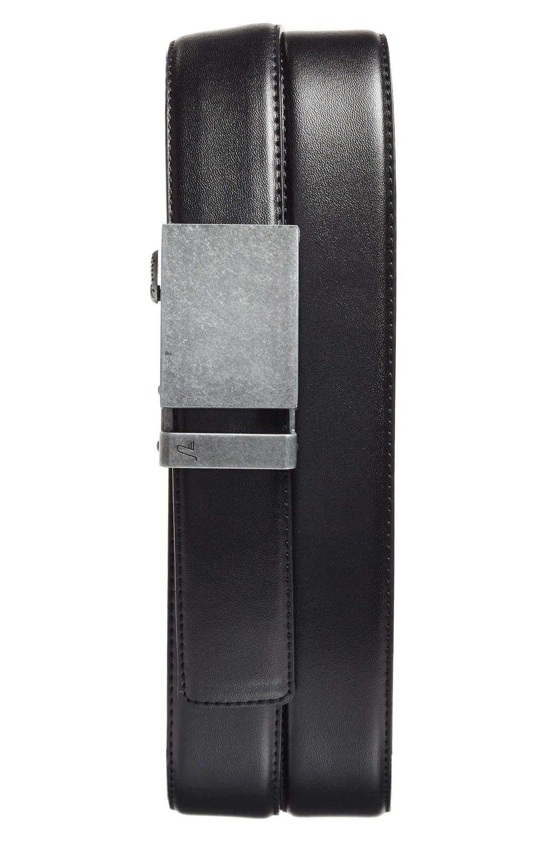 'Iron' Leather Belt,                         Main,                         color, IRON/ BLACK
