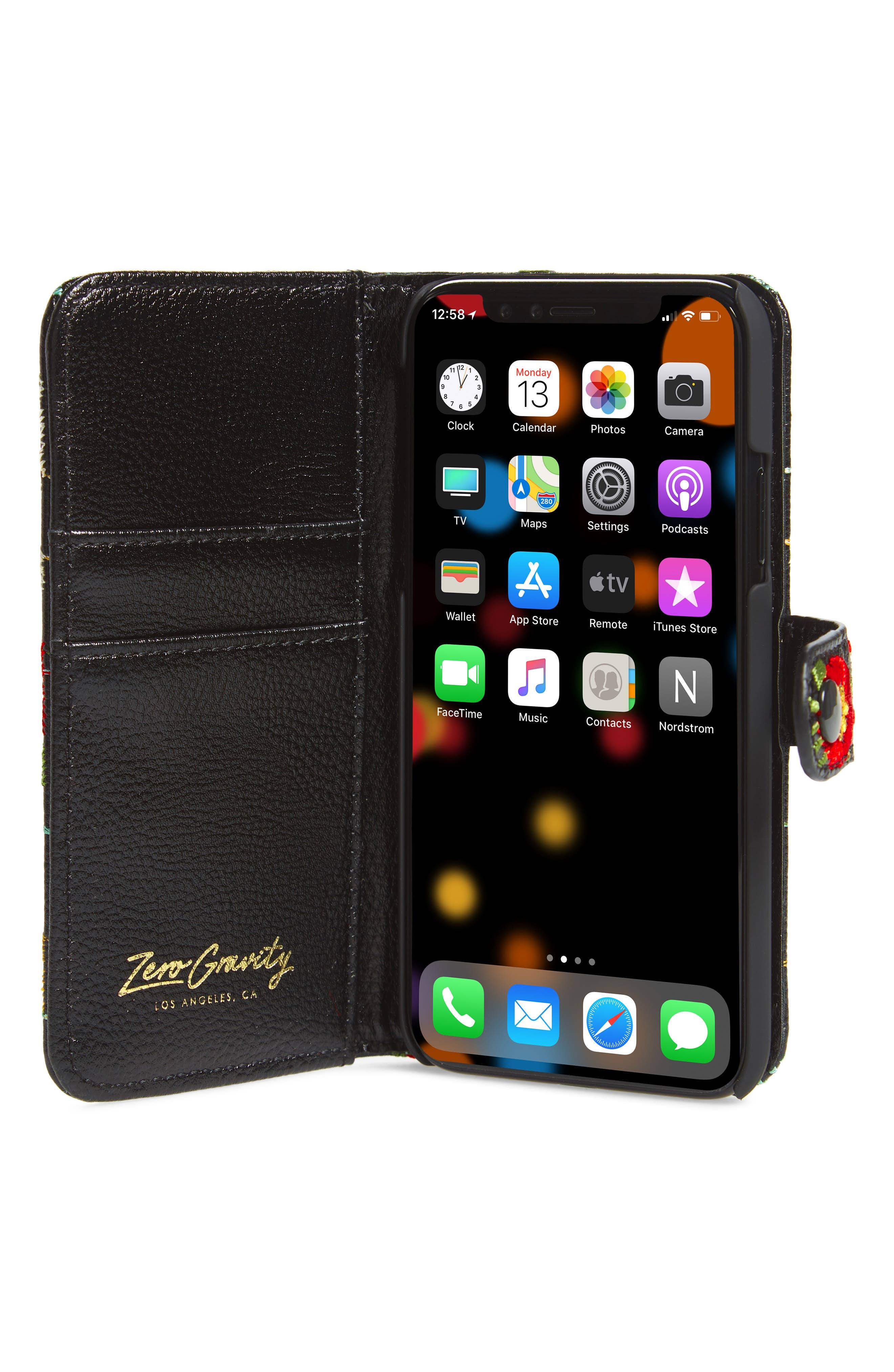 Jardin iPhone X Wallet,                             Alternate thumbnail 2, color,                             BLACK MULTI