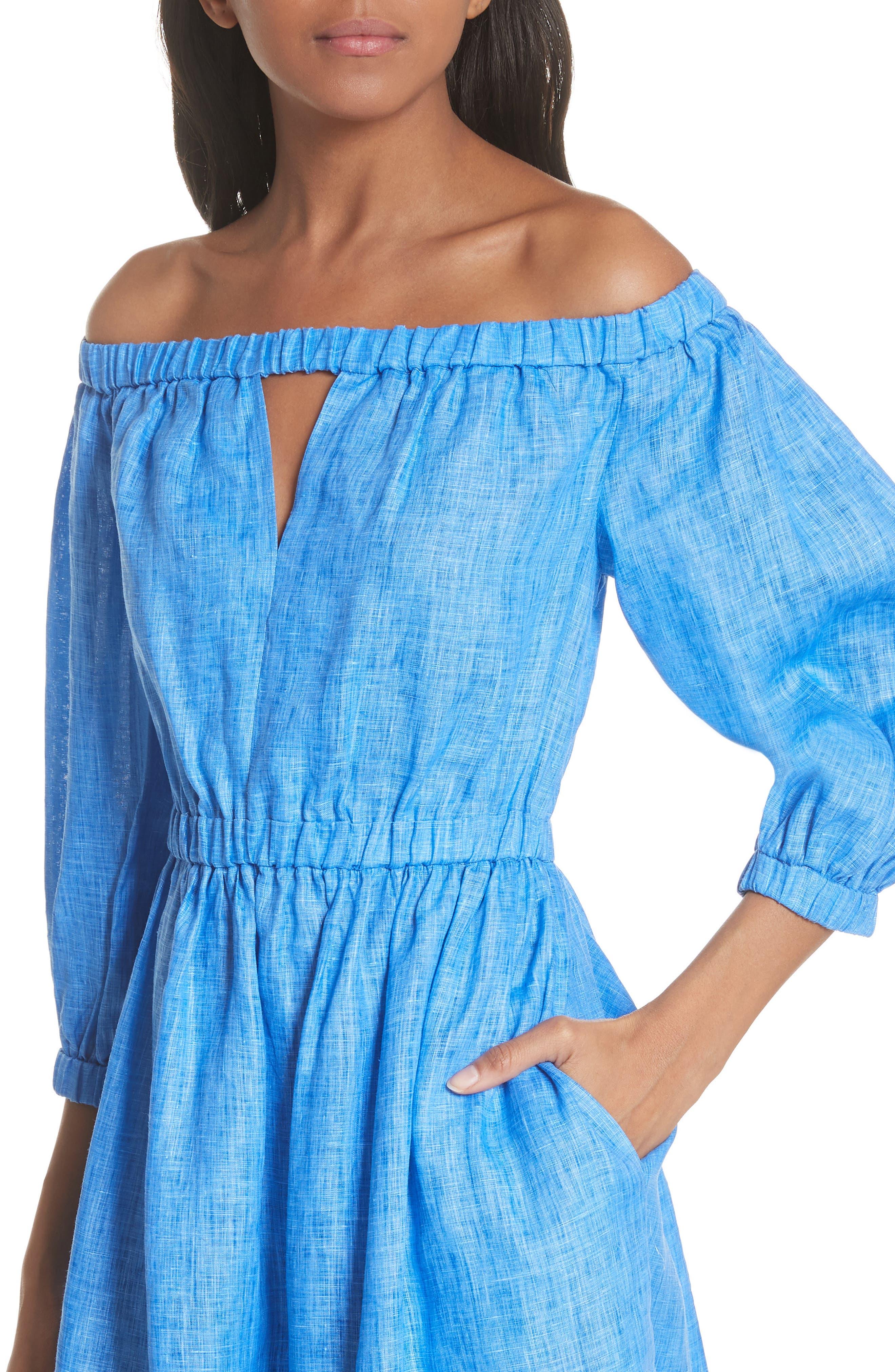 Amanda Off the Shoulder Italian Linen Dress,                             Alternate thumbnail 4, color,                             COBALT