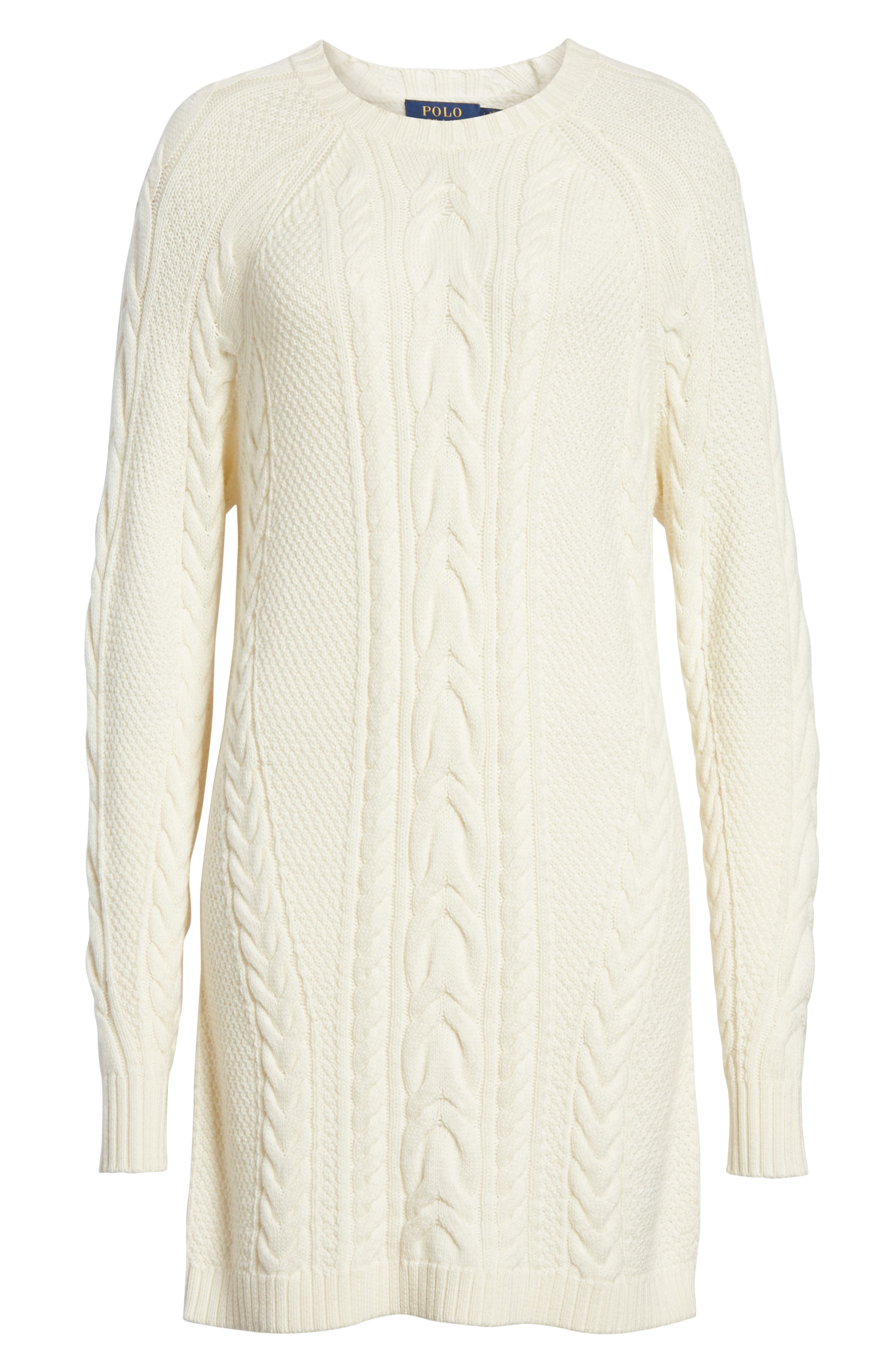 Cable Sweater Dress,                             Alternate thumbnail 6, color,                             CREAM