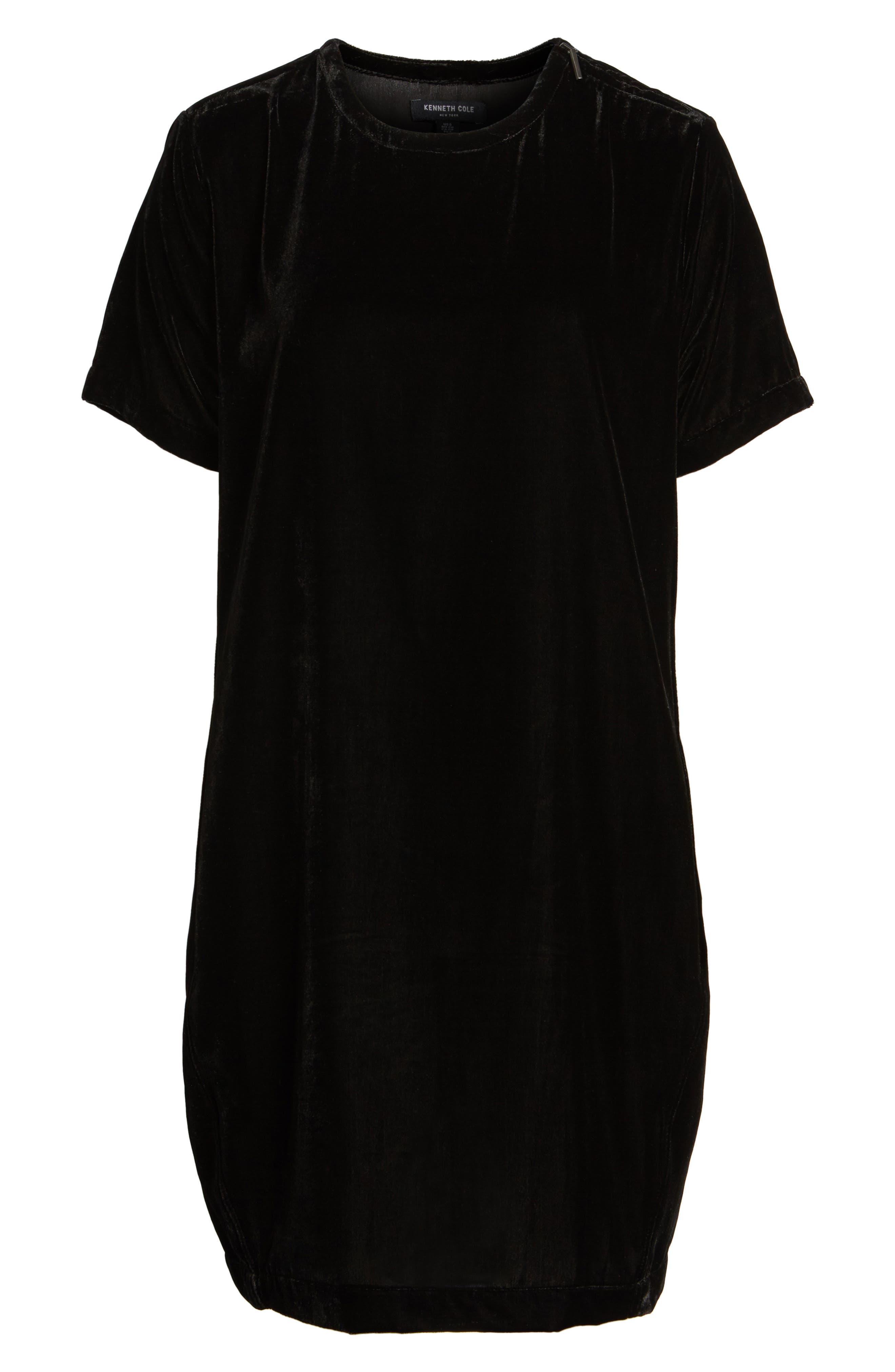 Zip Shoulder Velvet Shift Dress,                             Alternate thumbnail 6, color,                             001