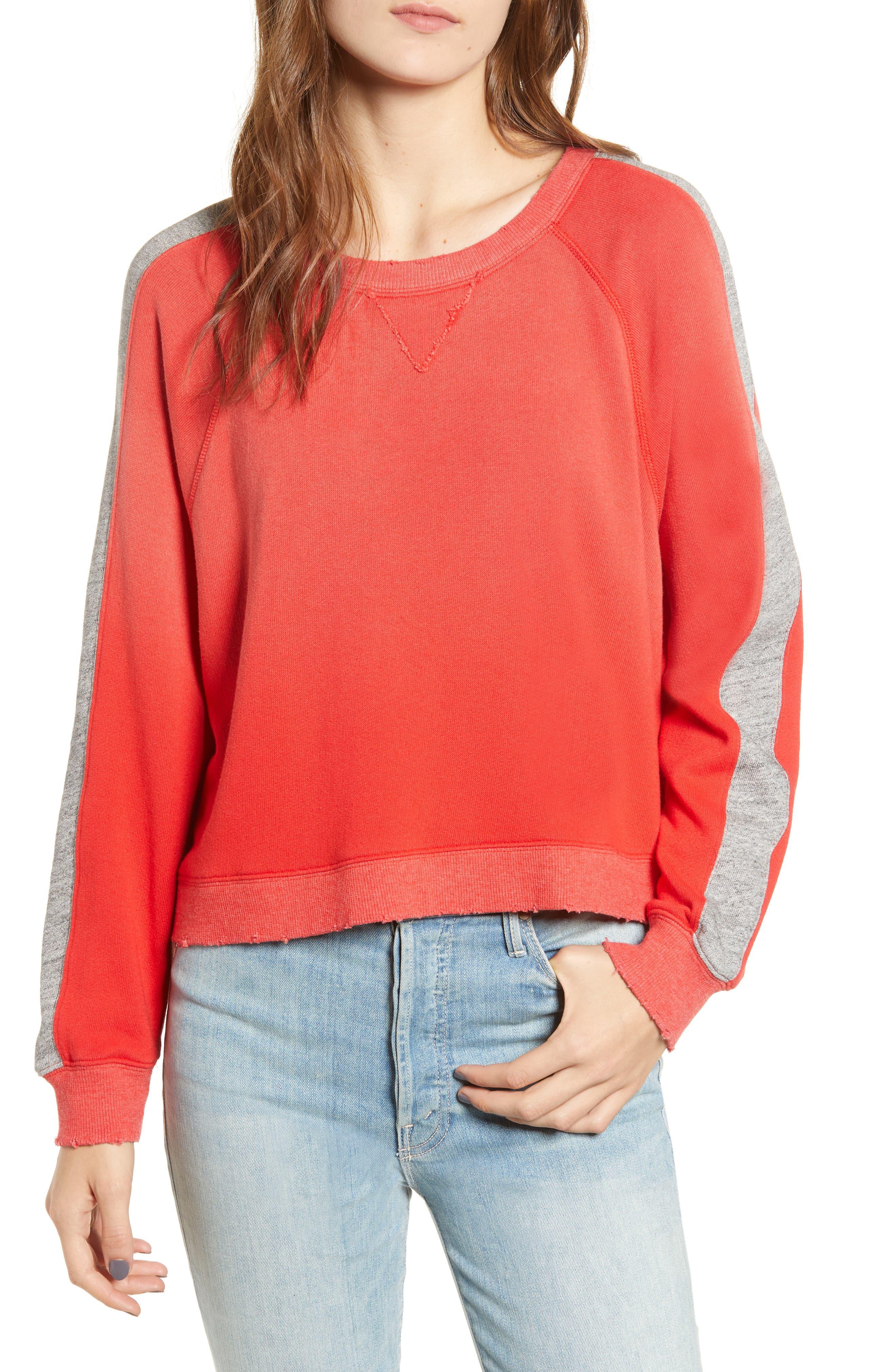 Varsity Stripe Sweatshirt,                             Main thumbnail 1, color,                             ROUGE