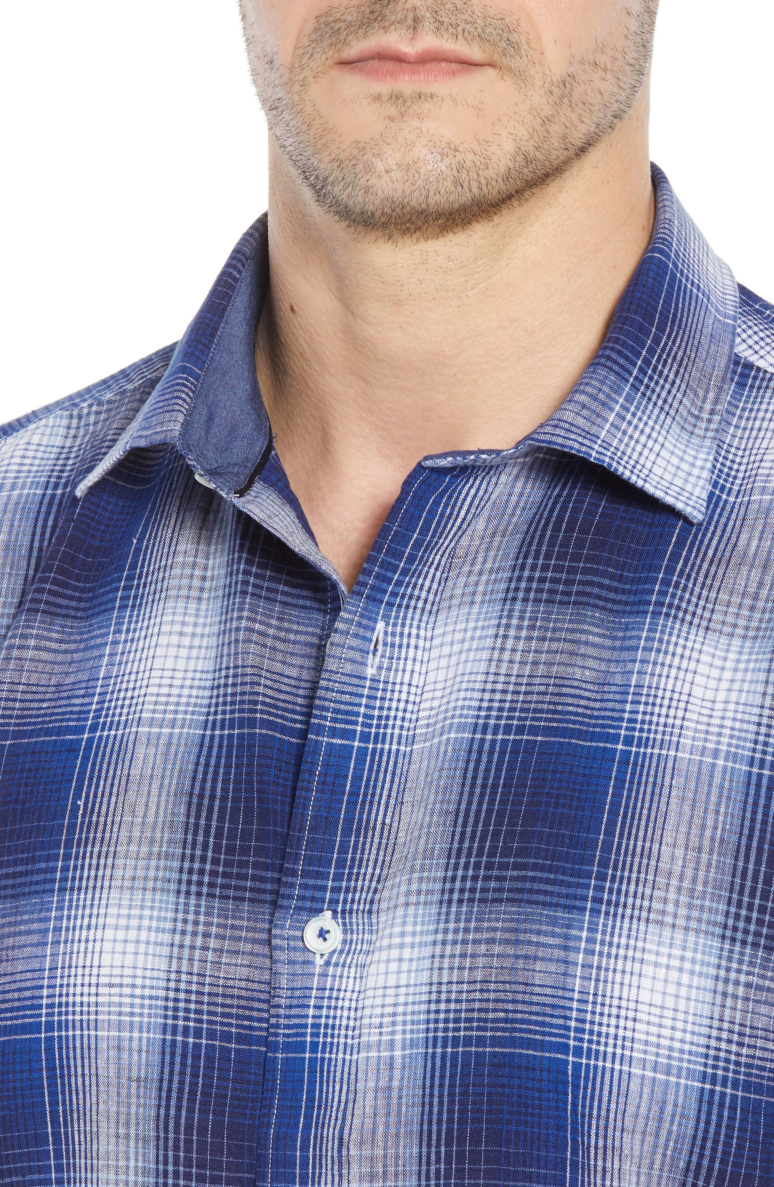 Shaped Fit Plaid Linen Blend Sport Shirt,                             Alternate thumbnail 4, color,                             NAVY