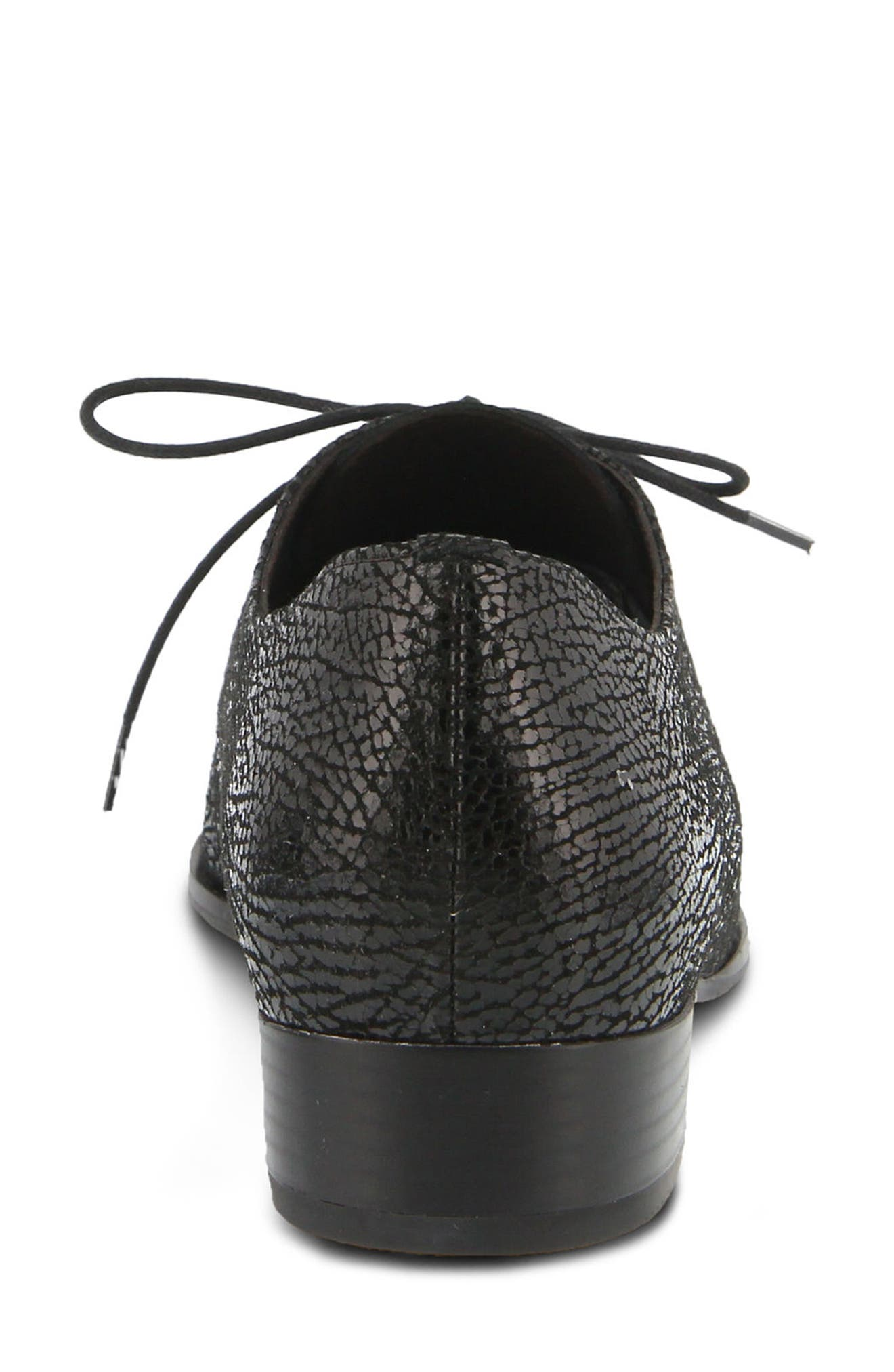 Conchetta Lace-Up Derby,                             Alternate thumbnail 6, color,                             BLACK LEATHER
