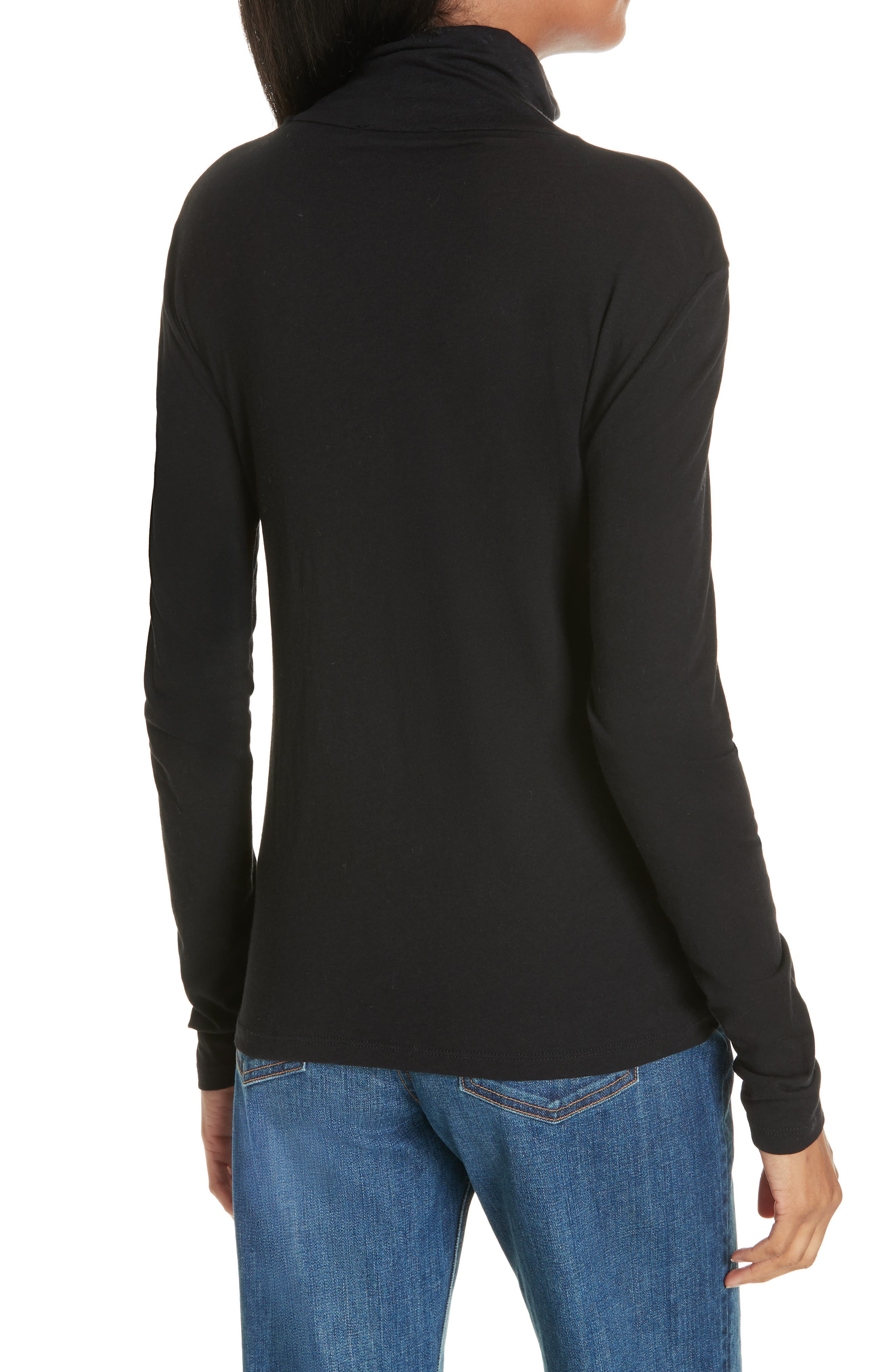 Pima Cotton Turtleneck,                             Alternate thumbnail 2, color,                             001