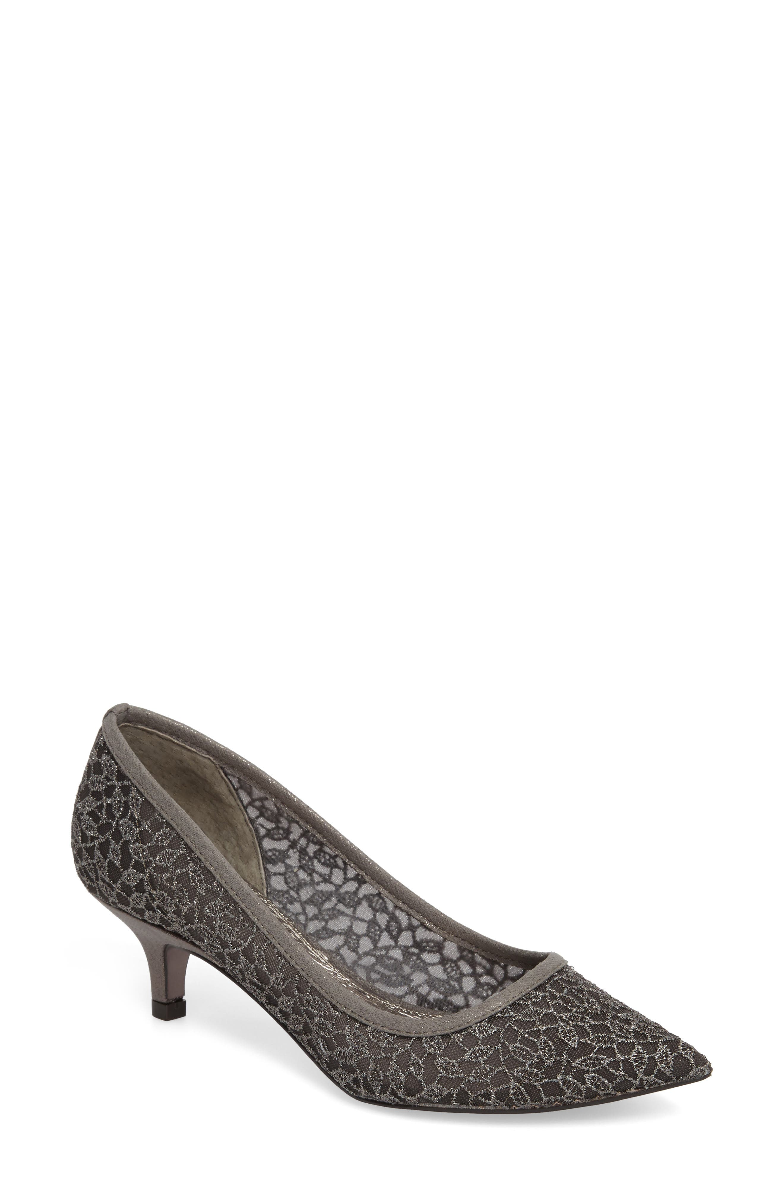 ADRIANNA PAPELL,                             'Lois' Mesh Pump,                             Main thumbnail 1, color,                             GUNMETAL LACE FABRIC