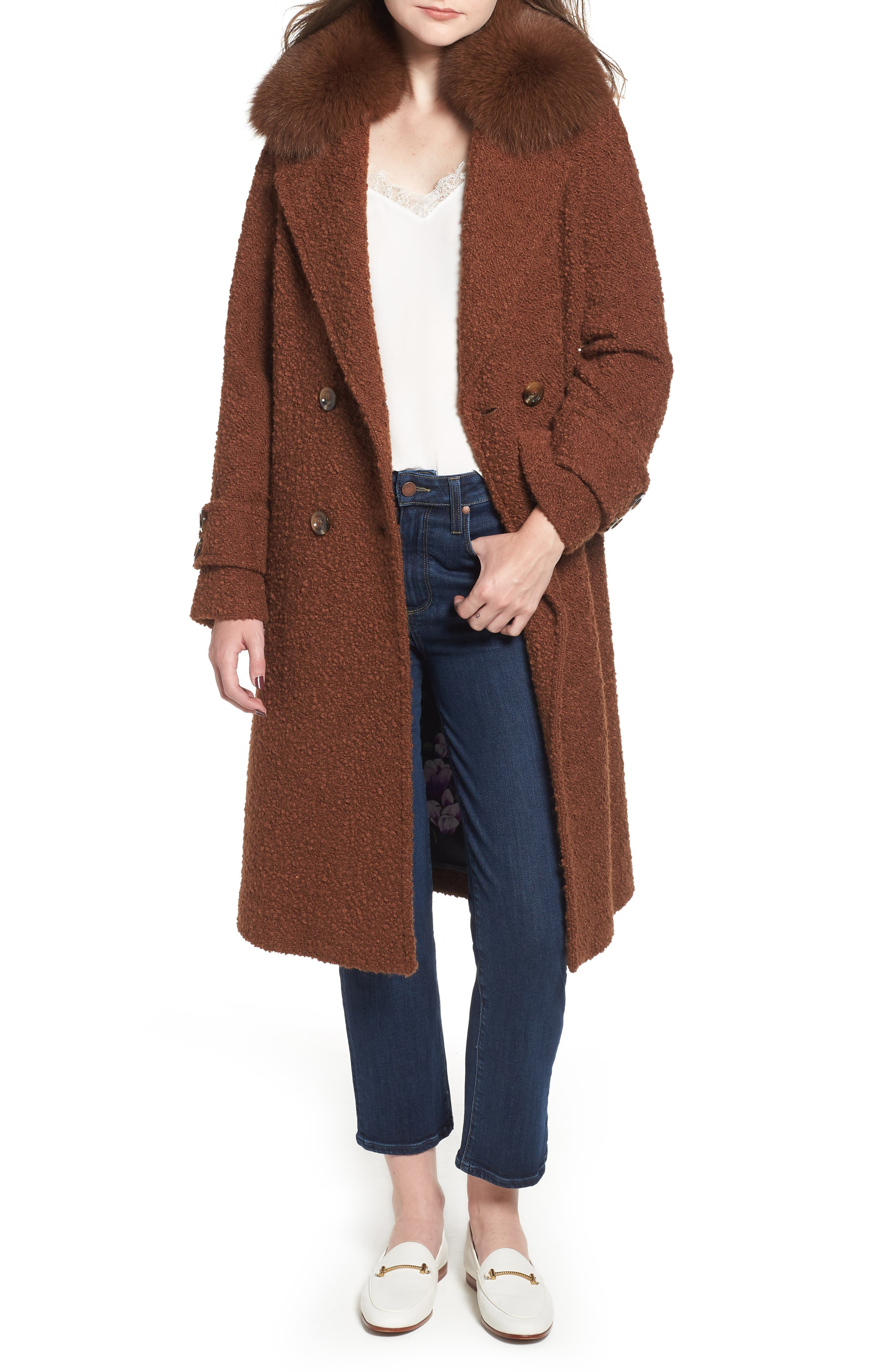 London Genuine Fox Fur Trim Long Coat,                             Main thumbnail 1, color,                             MOCHA