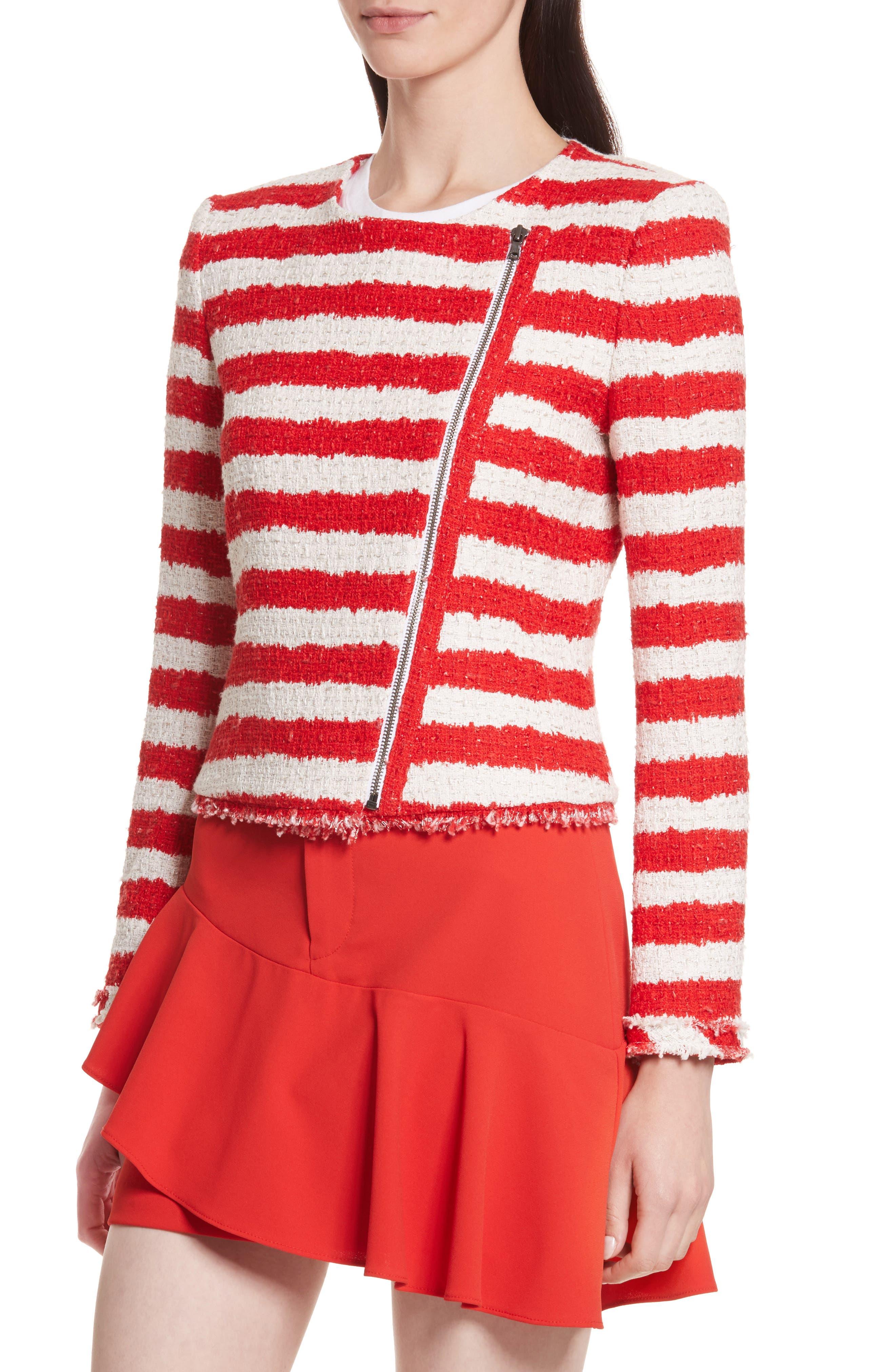 Stanton Stripe Tweed Jacket,                             Alternate thumbnail 4, color,
