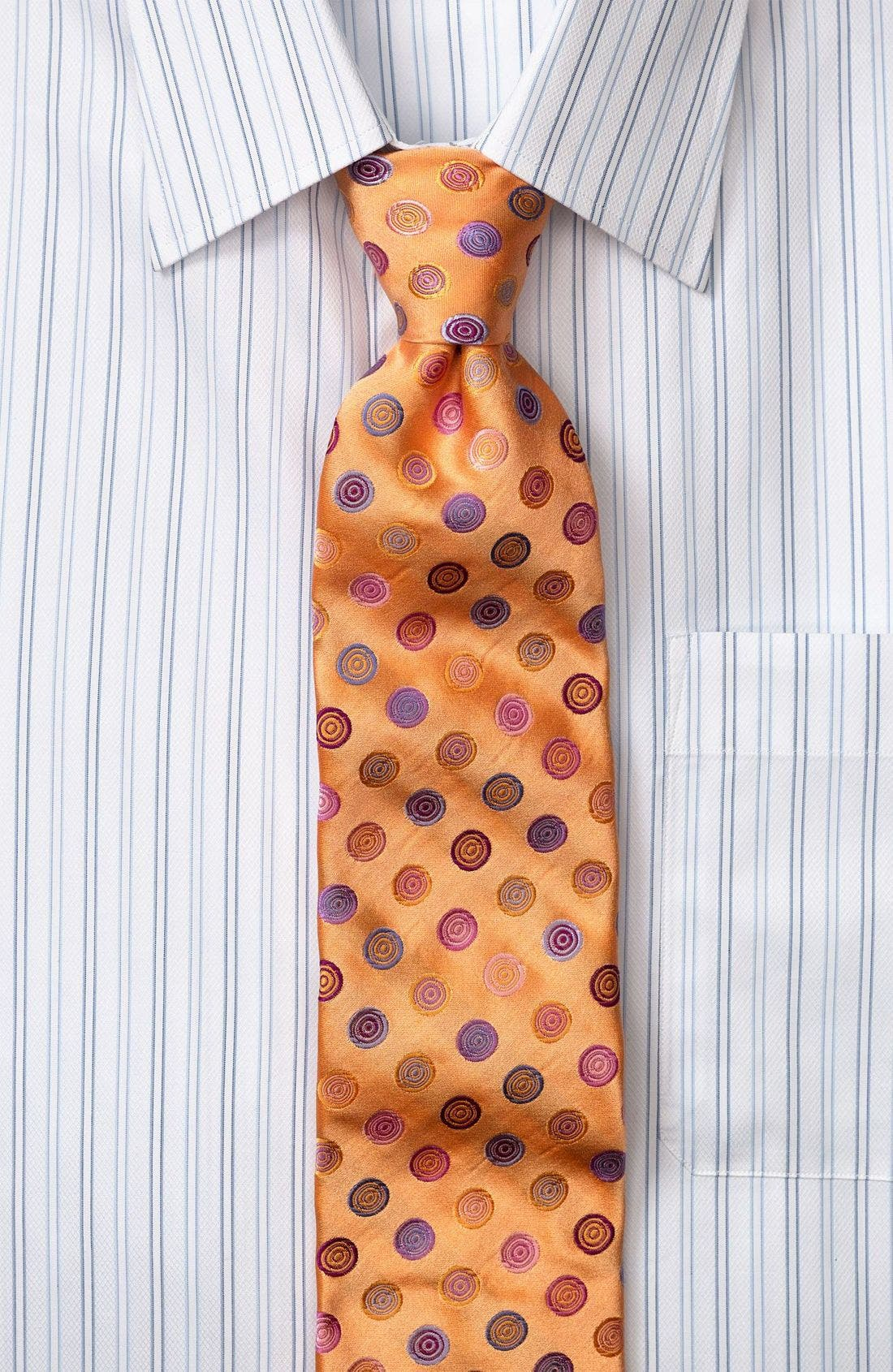 Circle Print Silk Tie,                         Main,                         color, GREEN