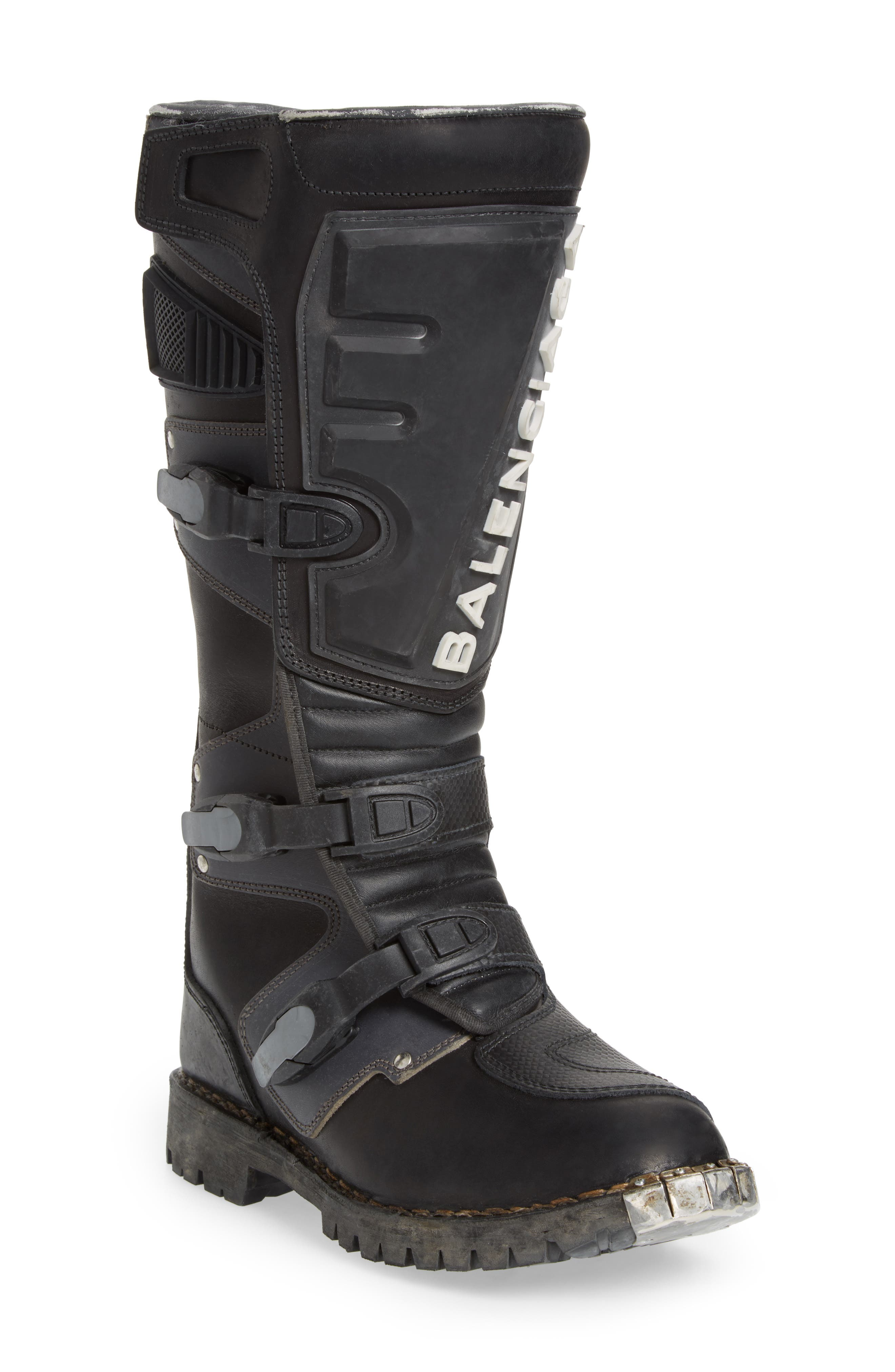 Moto Strapped Boot,                             Main thumbnail 1, color,                             006