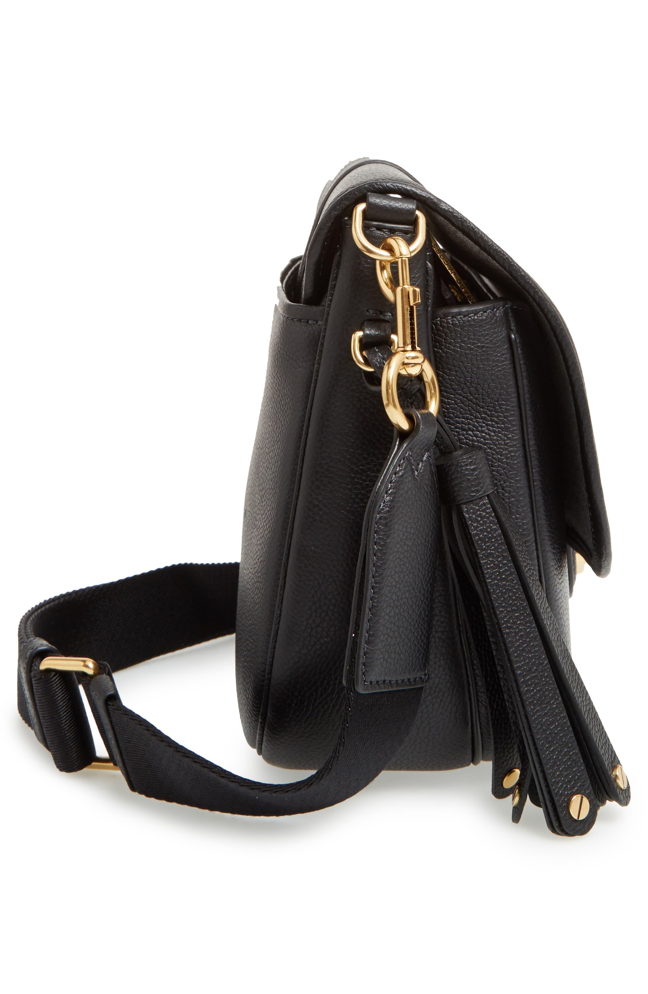 Interlock Leather Crossbody Bag,                             Alternate thumbnail 5, color,                             001