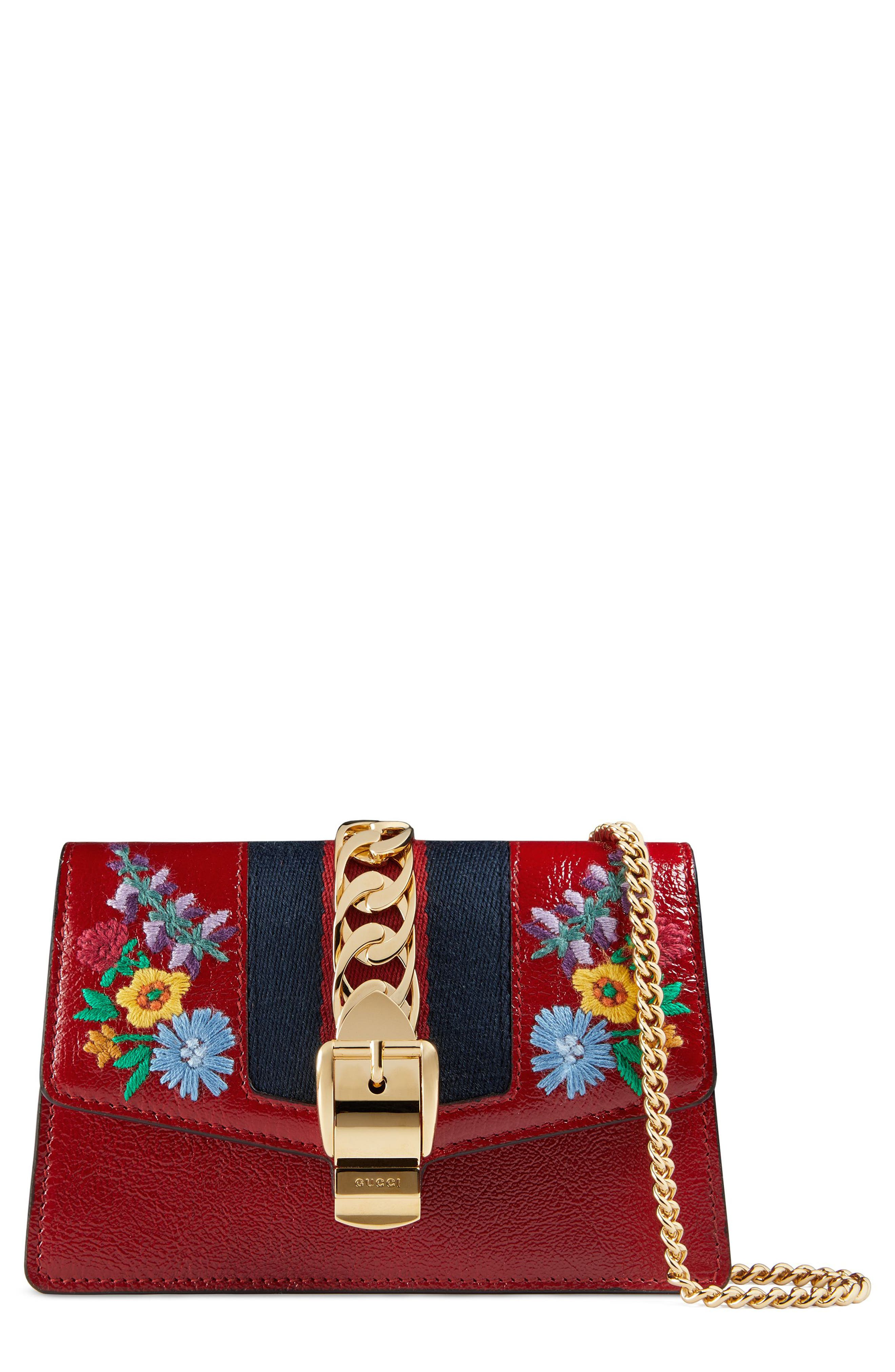 Super Mini Sylvie Embroidered Chain Wallet with Hook,                             Main thumbnail 1, color,                             HIBISCUS RED MULTI/ BLUE