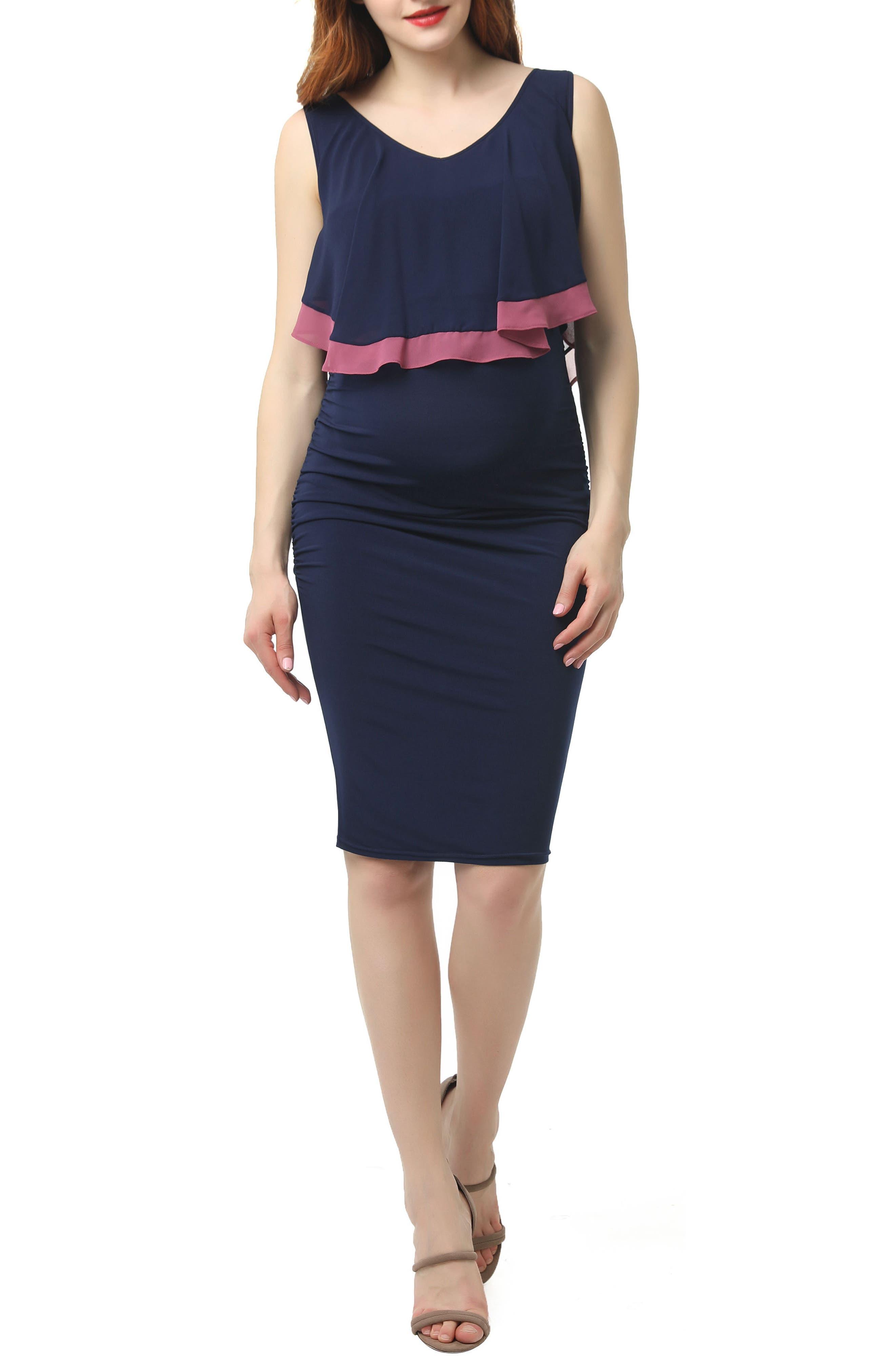 Kimi And Kai Melissa Body-Con Maternity/nursing Dress, Blue