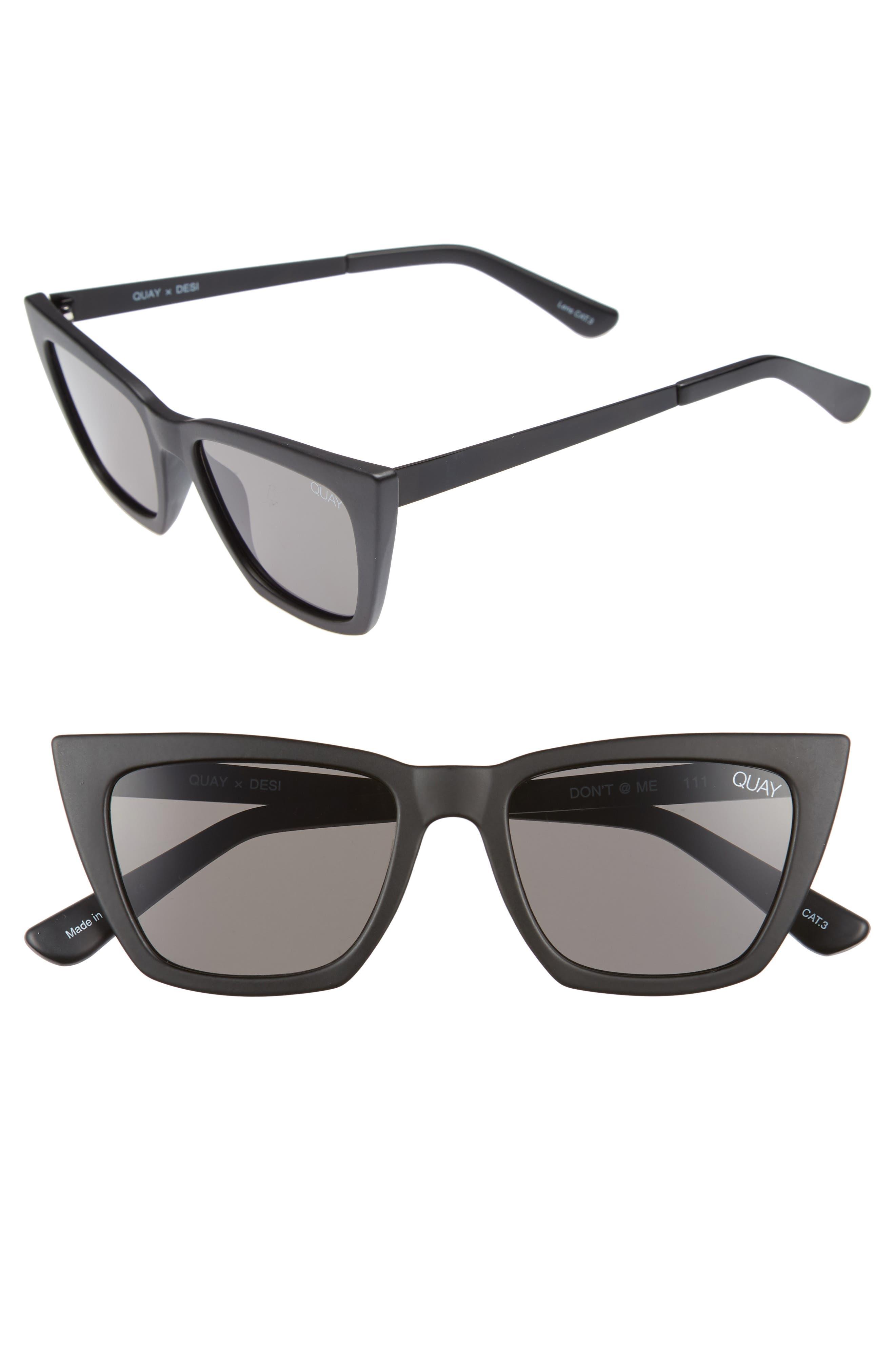x Desi Perkins Don't @ Me 48mm Cat Eye Sunglasses,                         Main,                         color, BLACK/ SMOKE