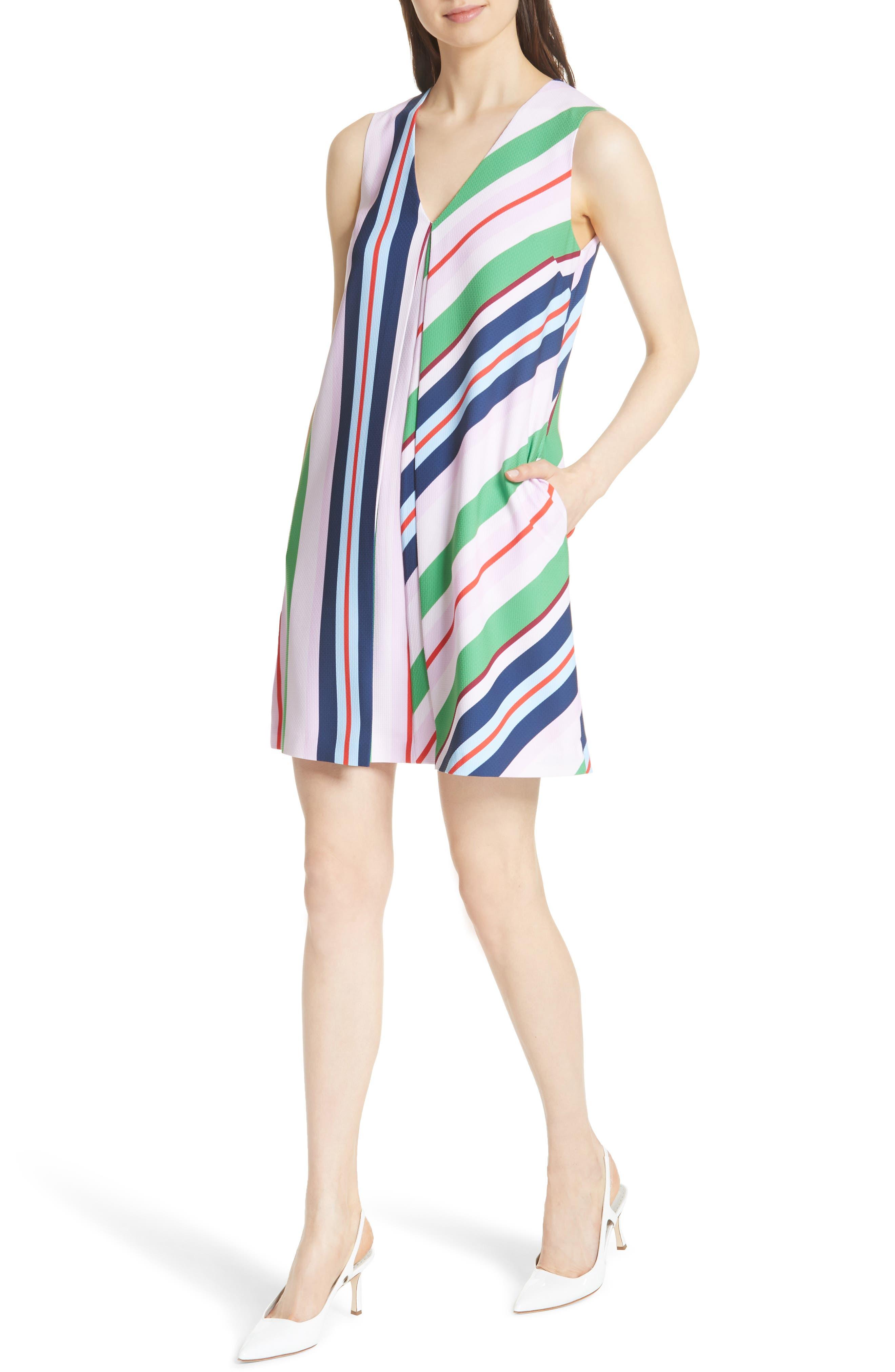 Stripe Shift Dress,                             Alternate thumbnail 4, color,                             680