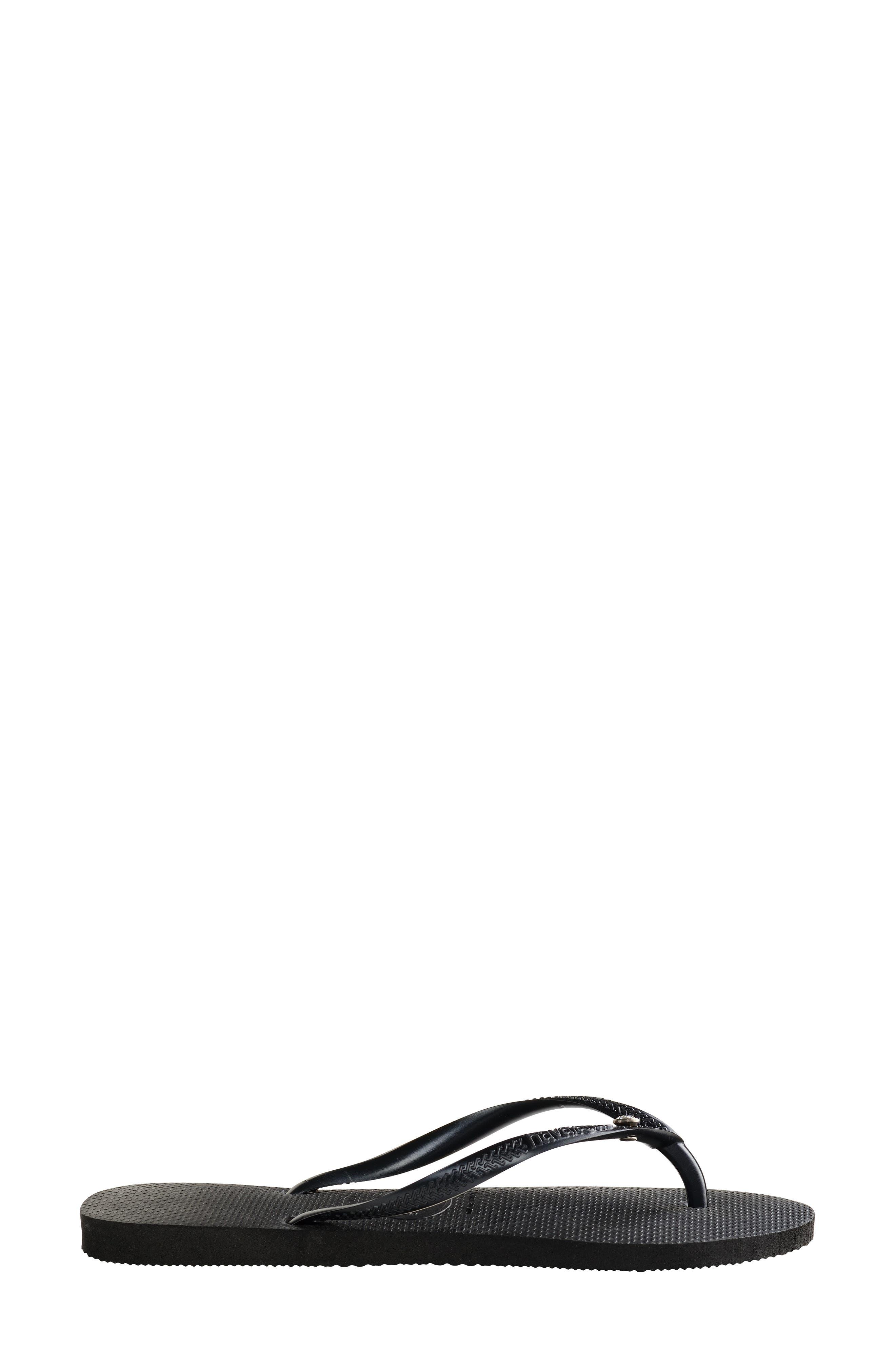 'Slim Crystal Glamour' Flip Flop,                             Alternate thumbnail 3, color,                             BLACK