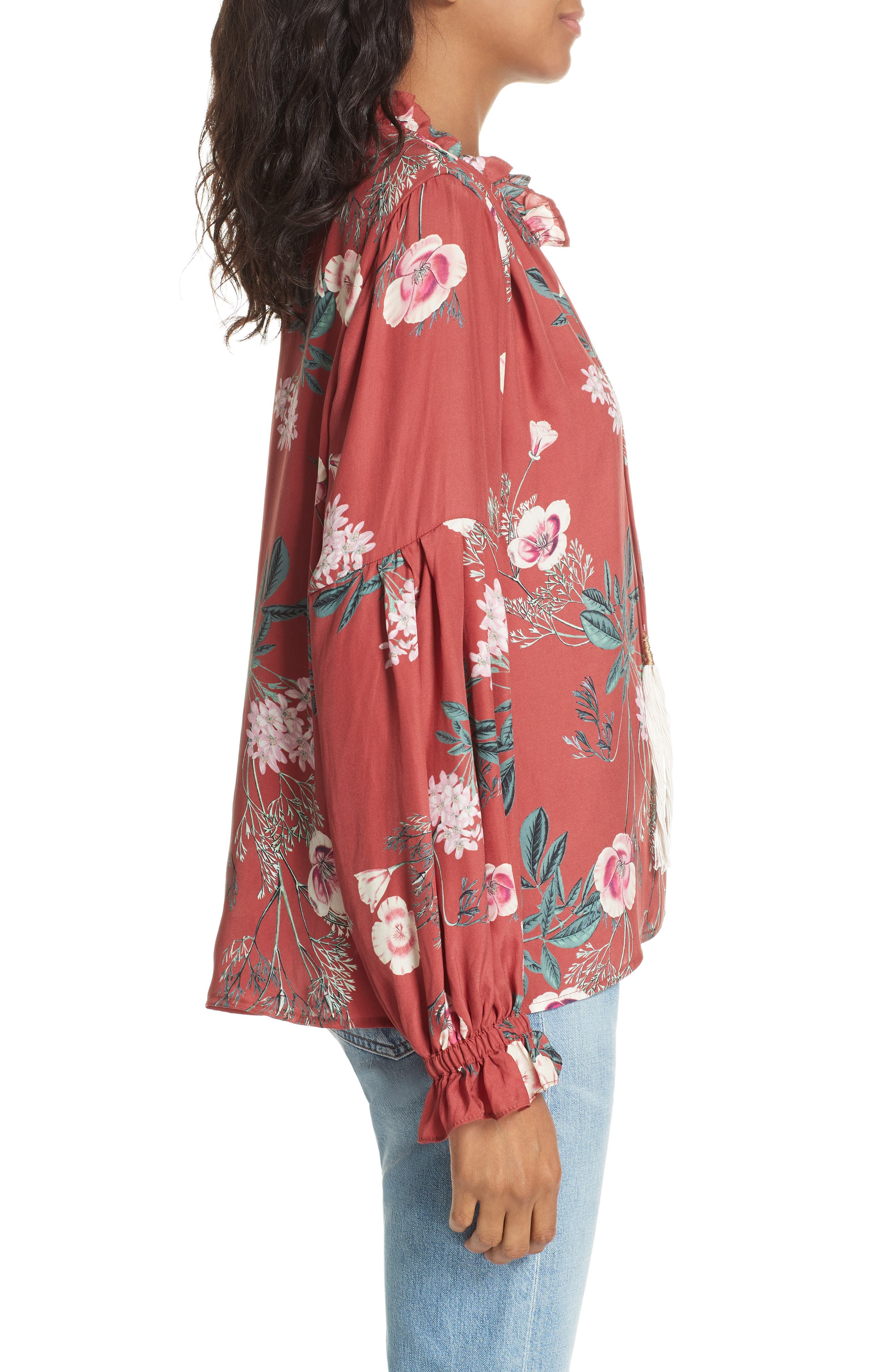 Split Neck Silk Peasant Top,                             Alternate thumbnail 3, color,                             RED BLOSSOM FLORAL