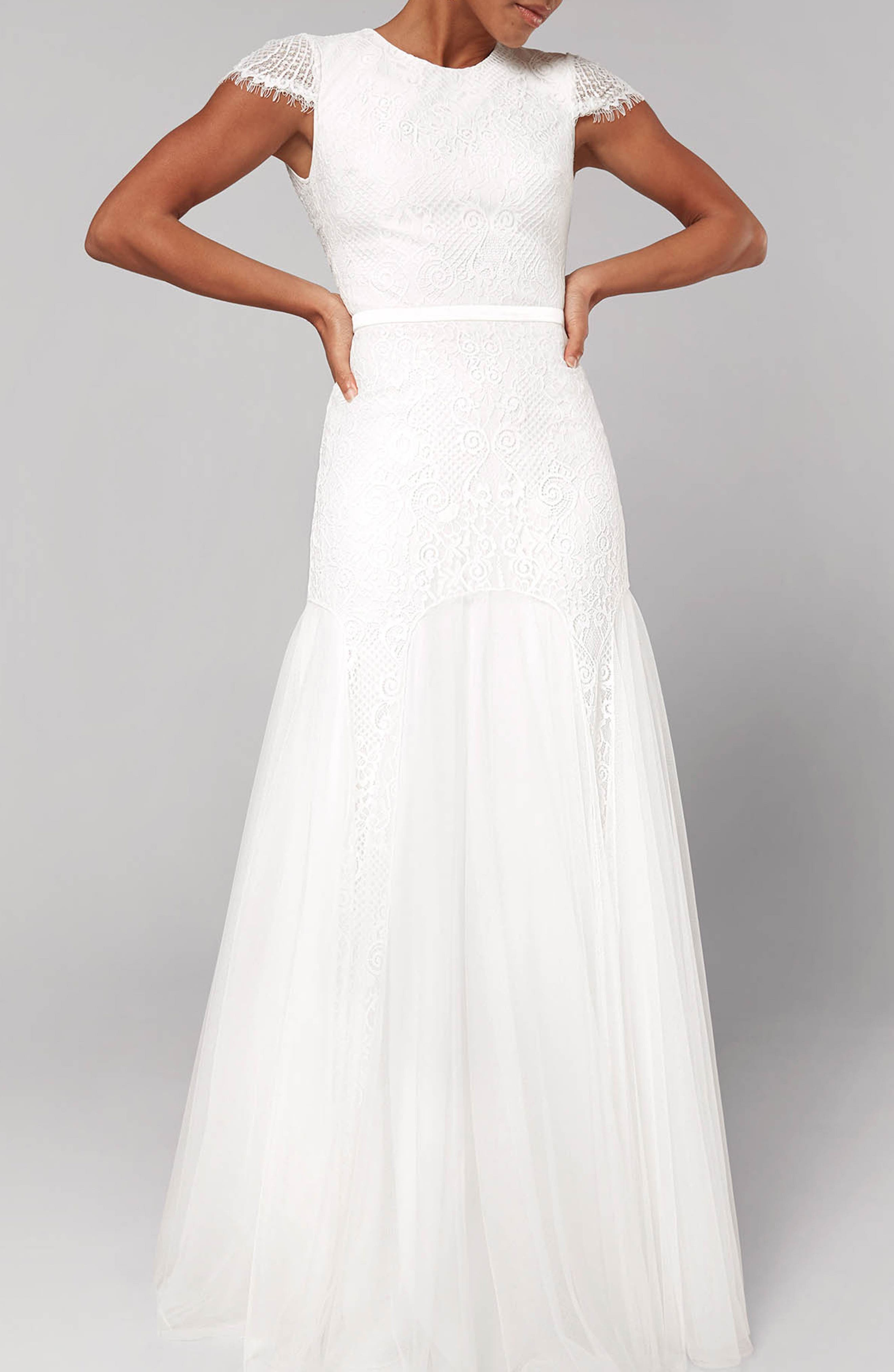 FAME AND PARTNERS Denevue Lace & Tulle A-Line Gown, Main, color, IVORY