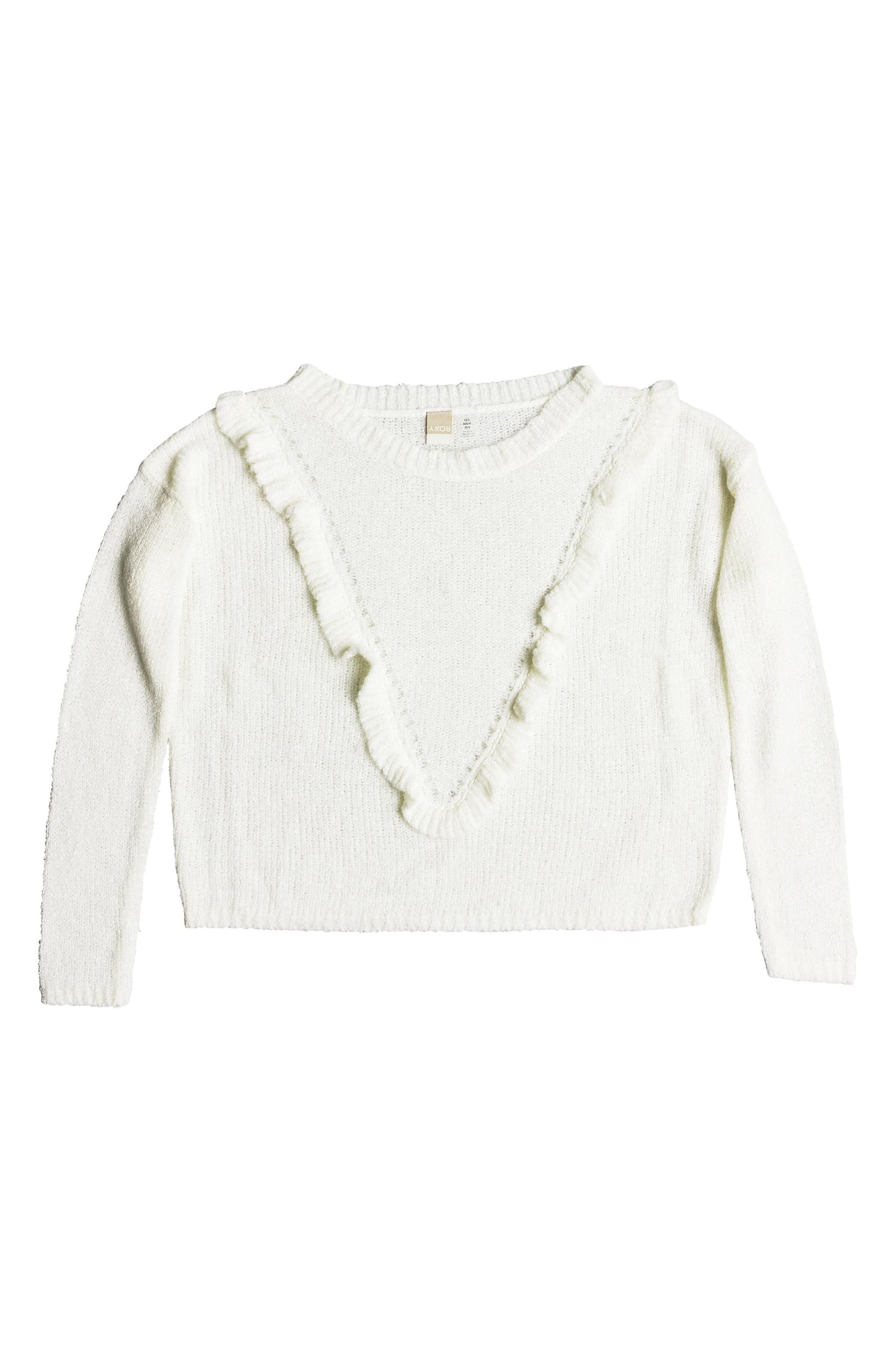 One Fine Stay Ruffle Sweater,                             Alternate thumbnail 5, color,                             MARSHMALLOW