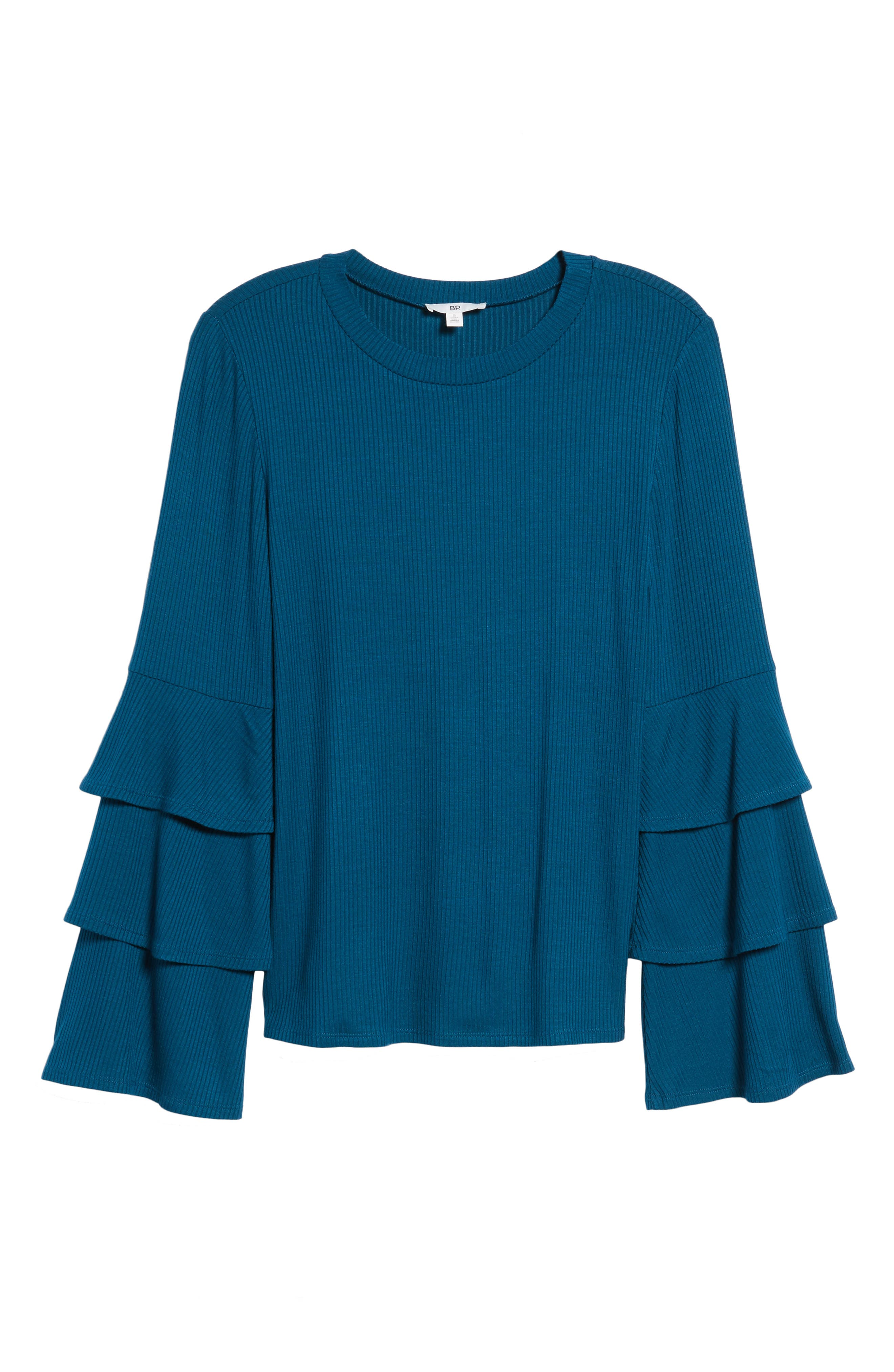 Ruffle Sleeve Ribbed Sweater,                             Alternate thumbnail 23, color,