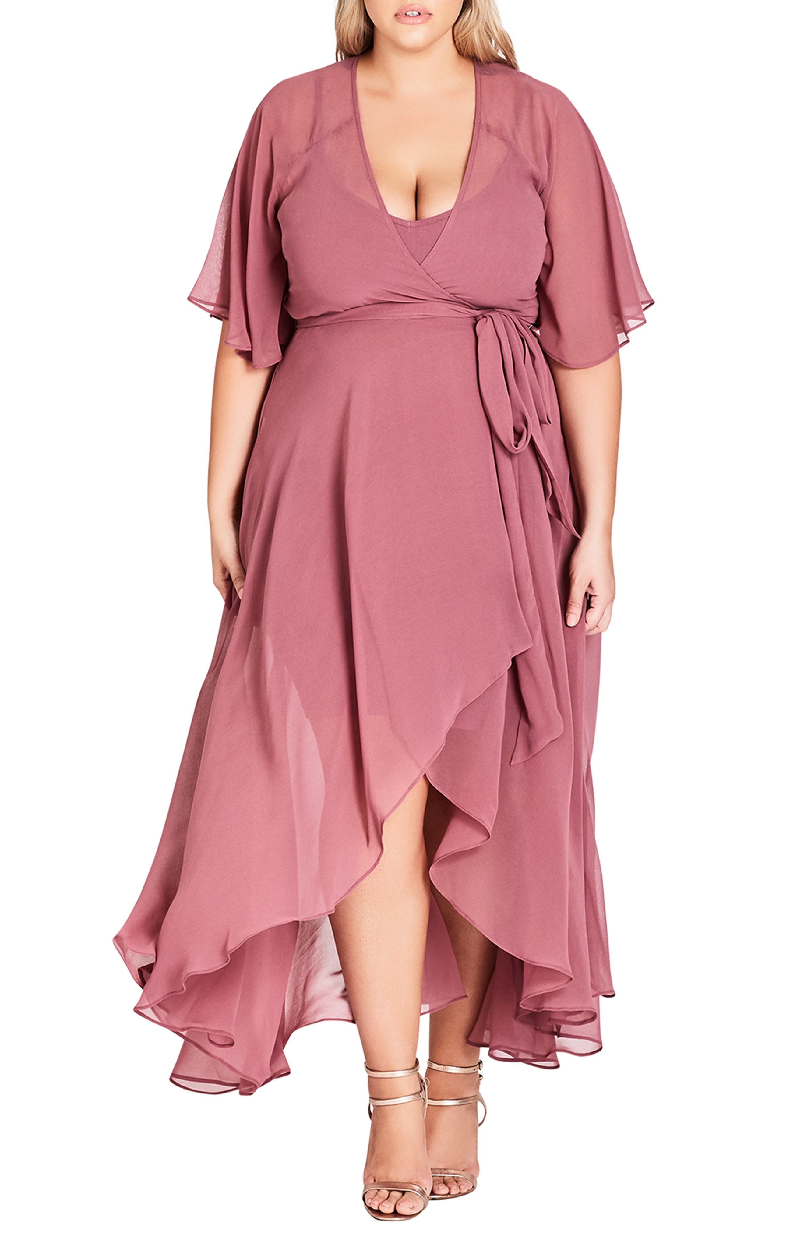 Plus Size City Chic Enthrall Me High/low Dress, Red