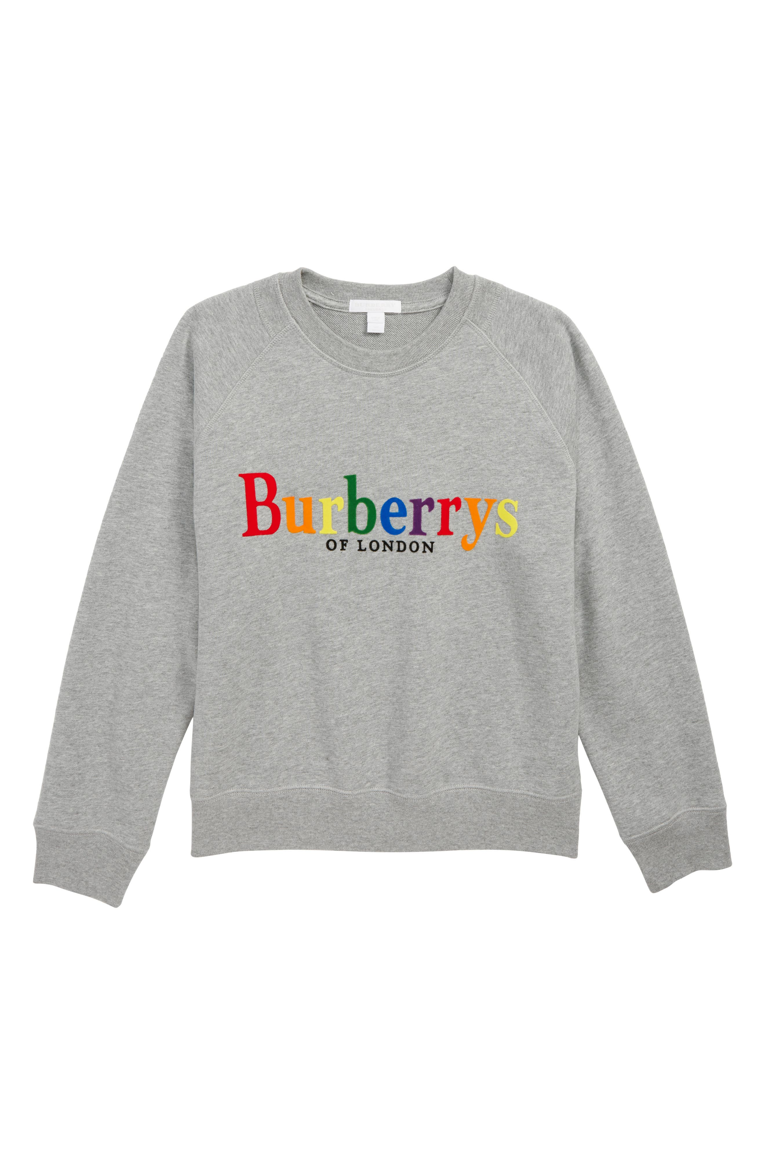 Elin Rainbow Logo Sweatshirt,                             Main thumbnail 1, color,                             GREY MELANGE