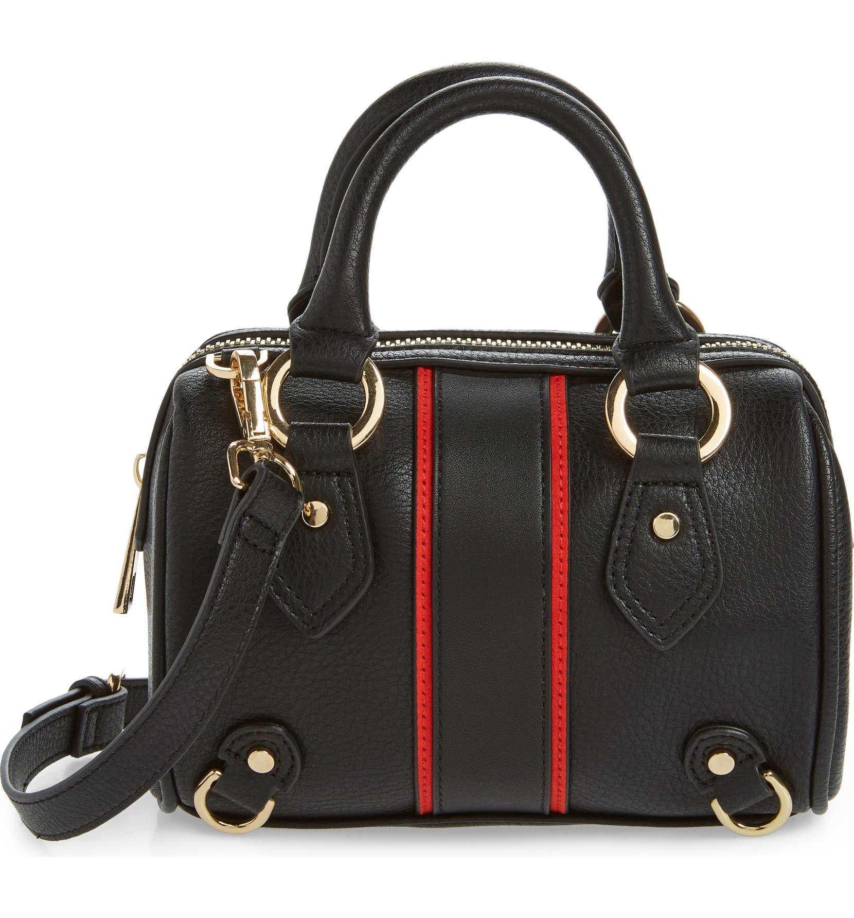 230895537239 Topshop Stripe Faux Leather Mini Bowler Bag