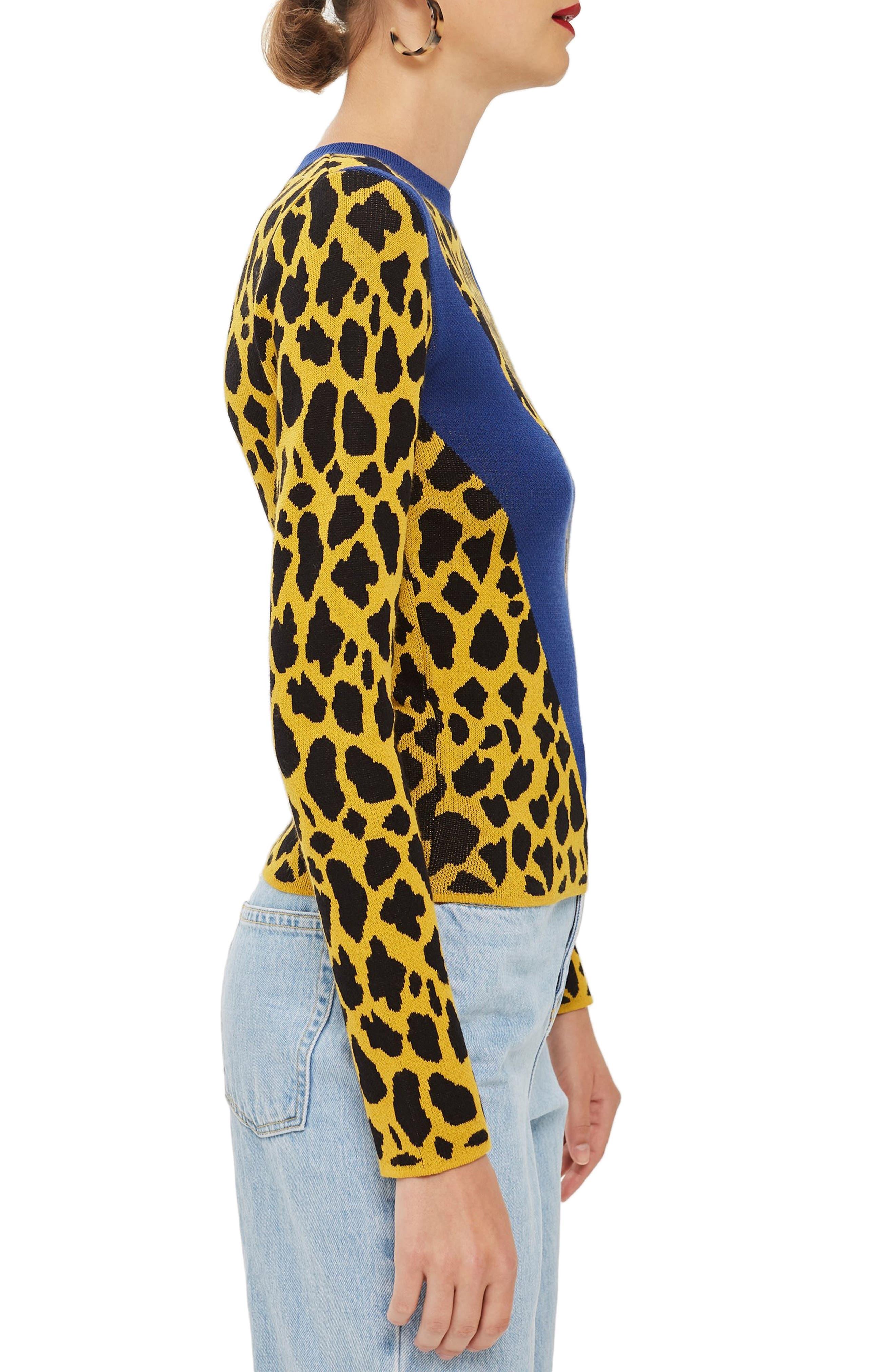 Leopard Chevron Sweater,                             Alternate thumbnail 3, color,                             MUSTARD MULTI