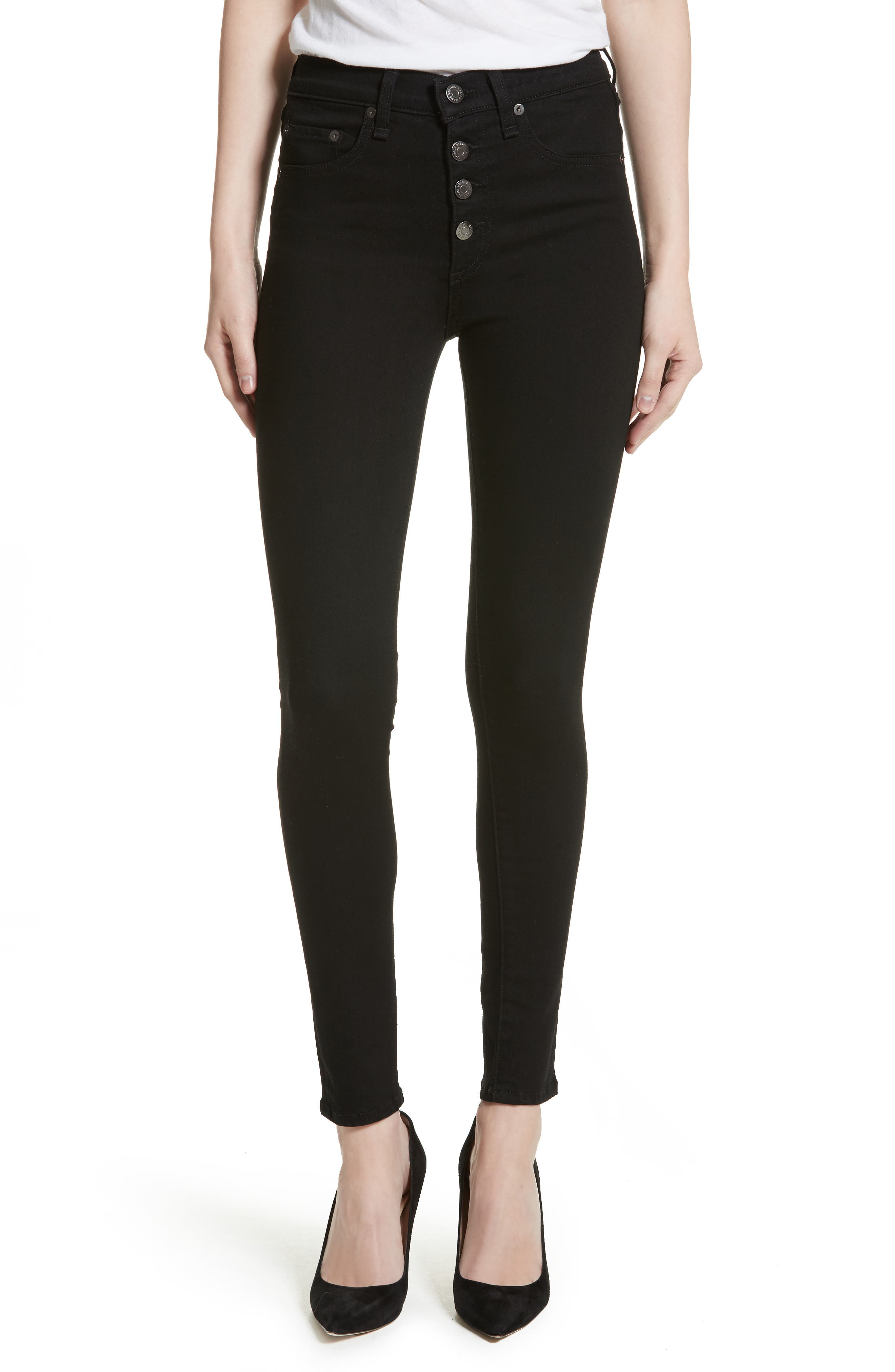 Debbie Exposed Fly Skinny Jeans,                             Main thumbnail 1, color,                             RAVEN
