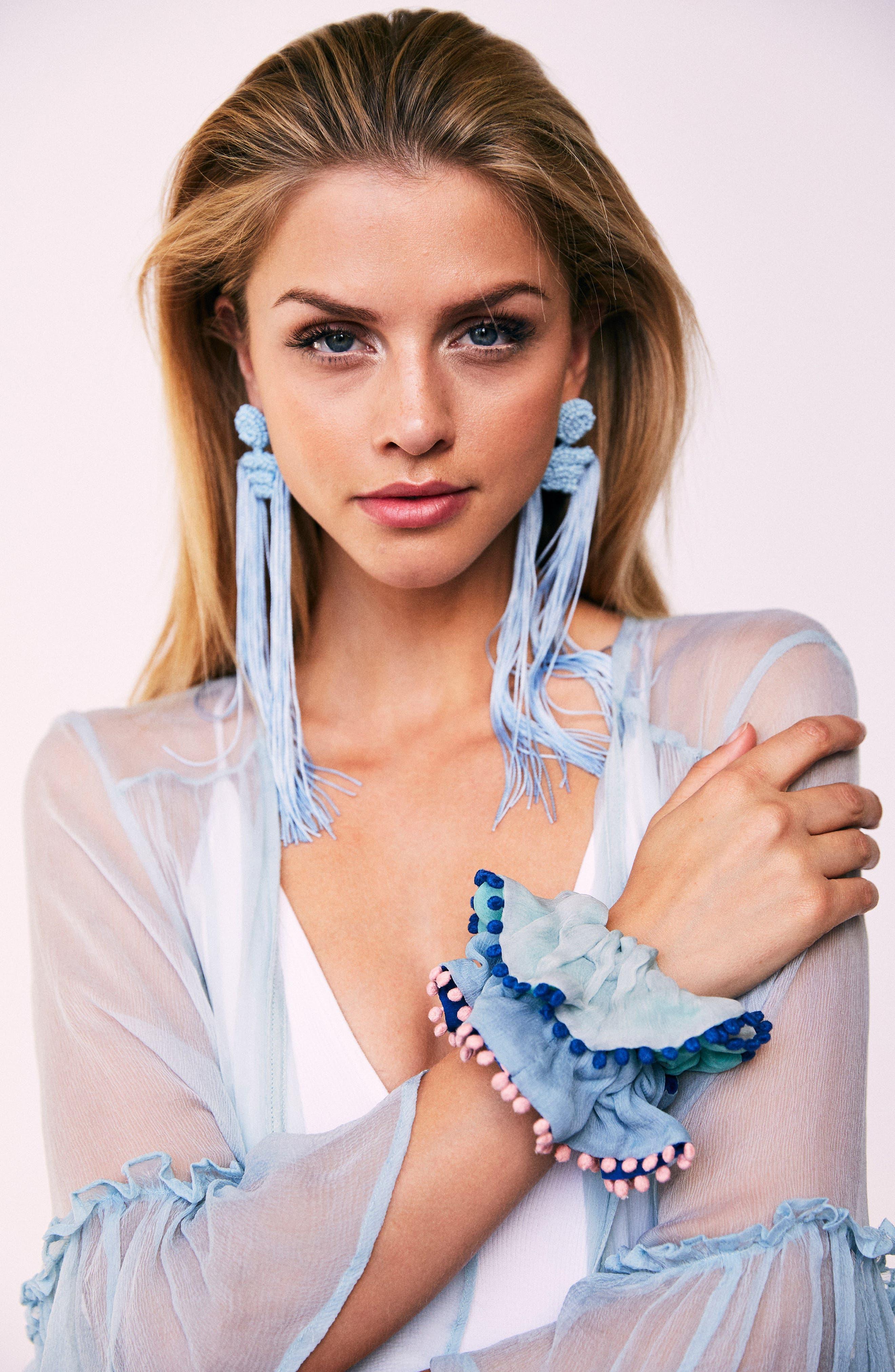 Tropicana Long Tassel Earrings,                             Alternate thumbnail 18, color,