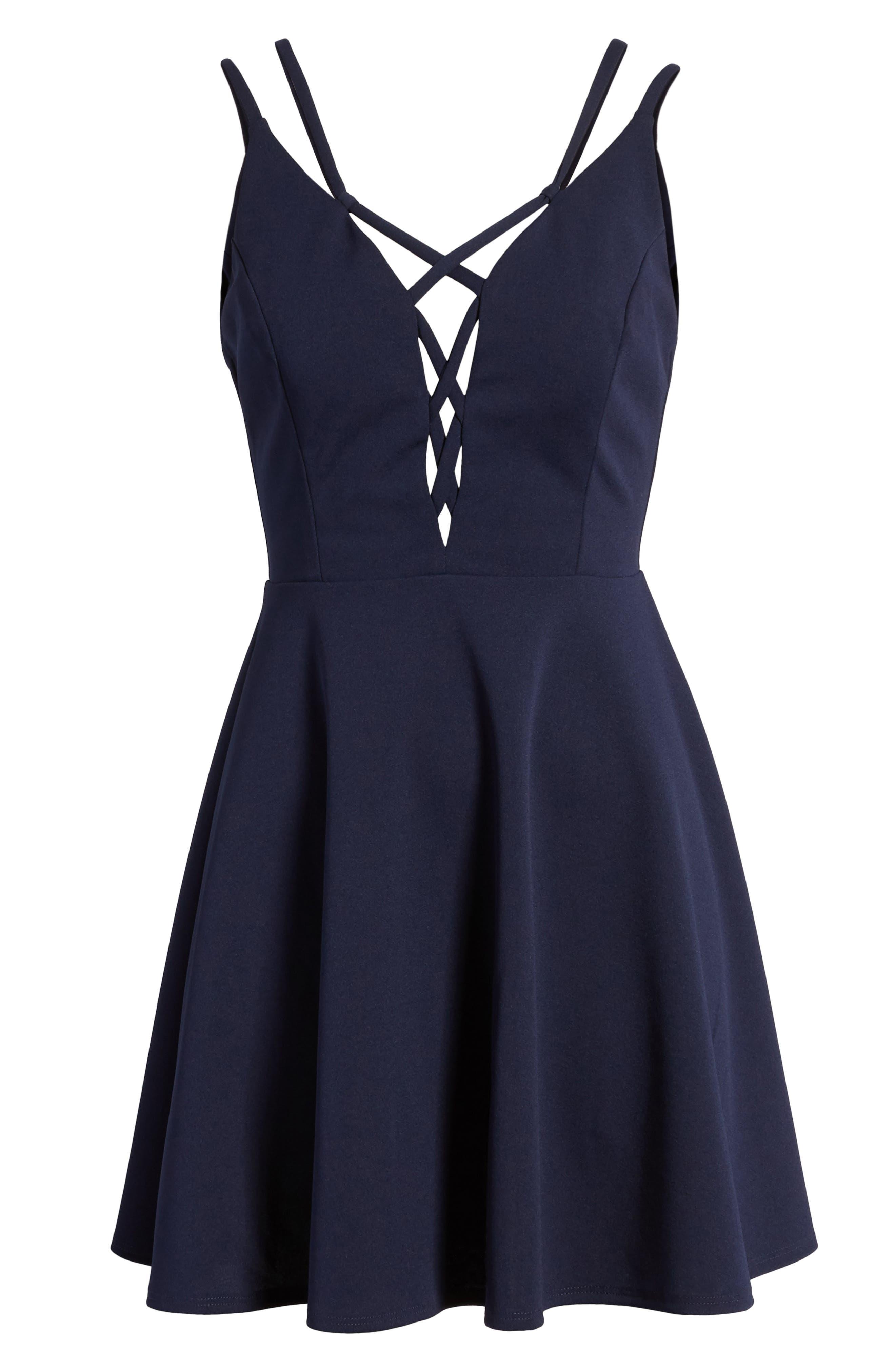 Lace-Up Skater Dress,                             Alternate thumbnail 7, color,                             407