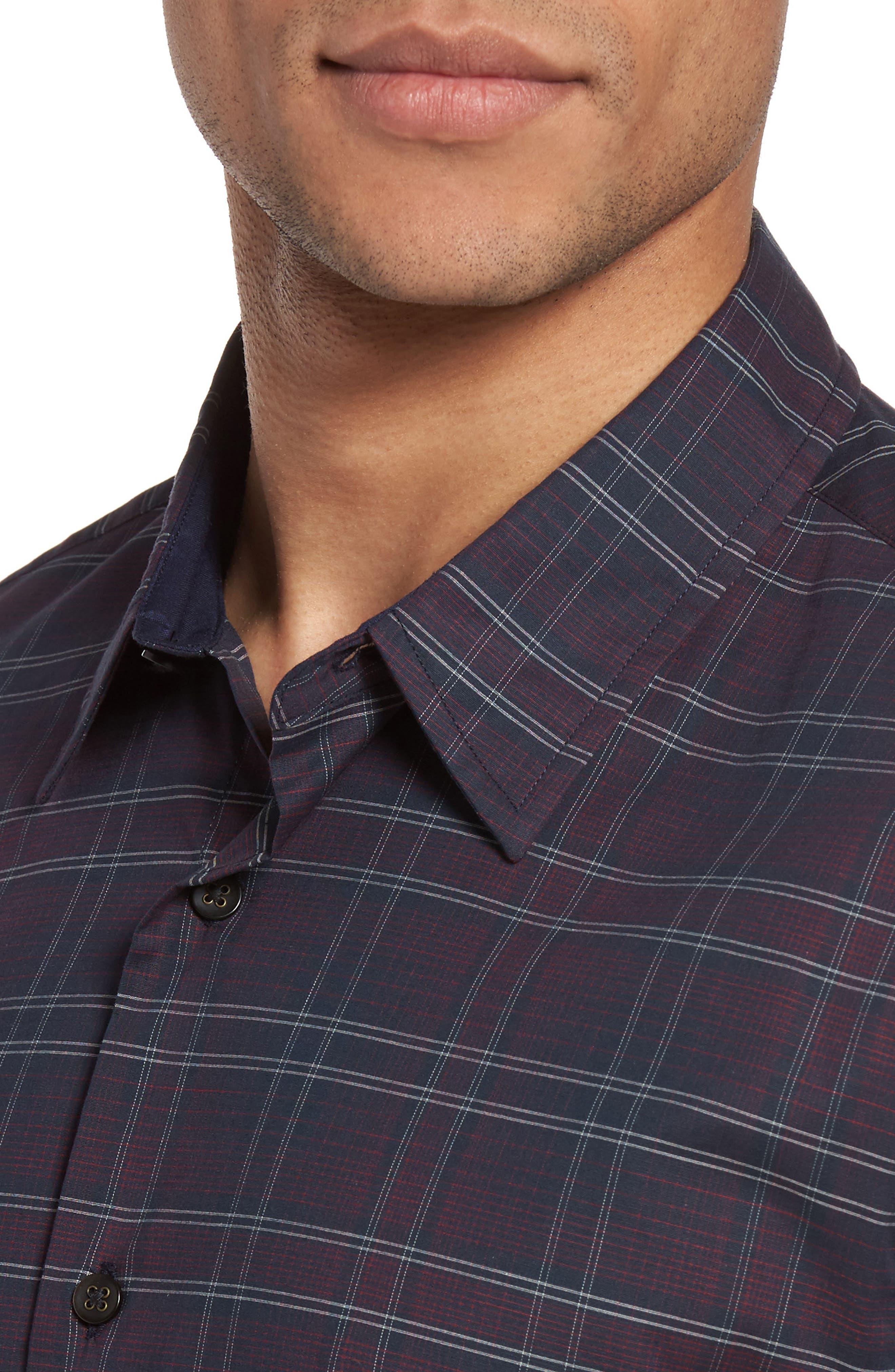 Trim Fit Check Sport Shirt,                             Alternate thumbnail 4, color,                             414