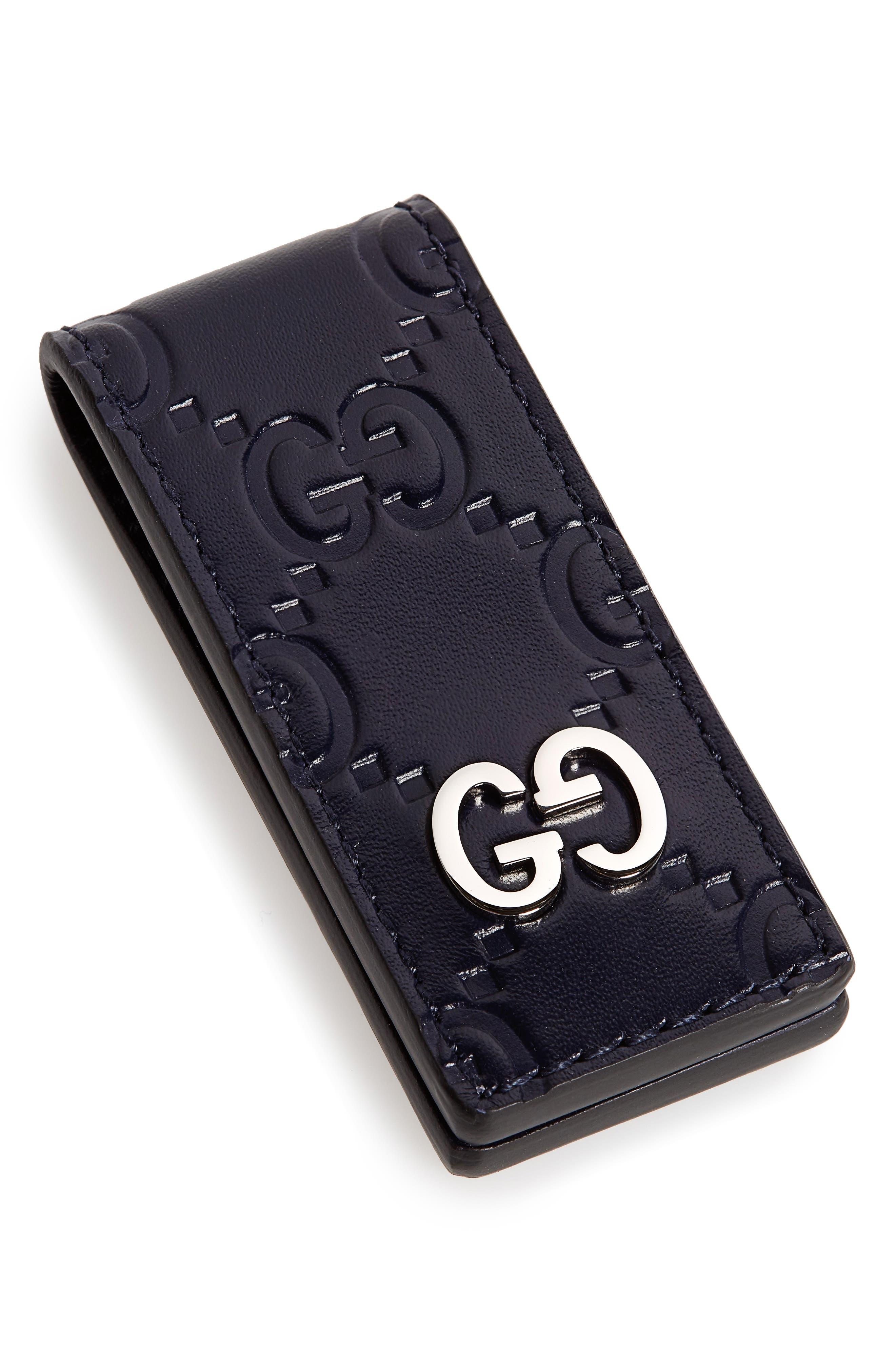 GG Signature Leather Money Clip,                         Main,                         color, BLUE