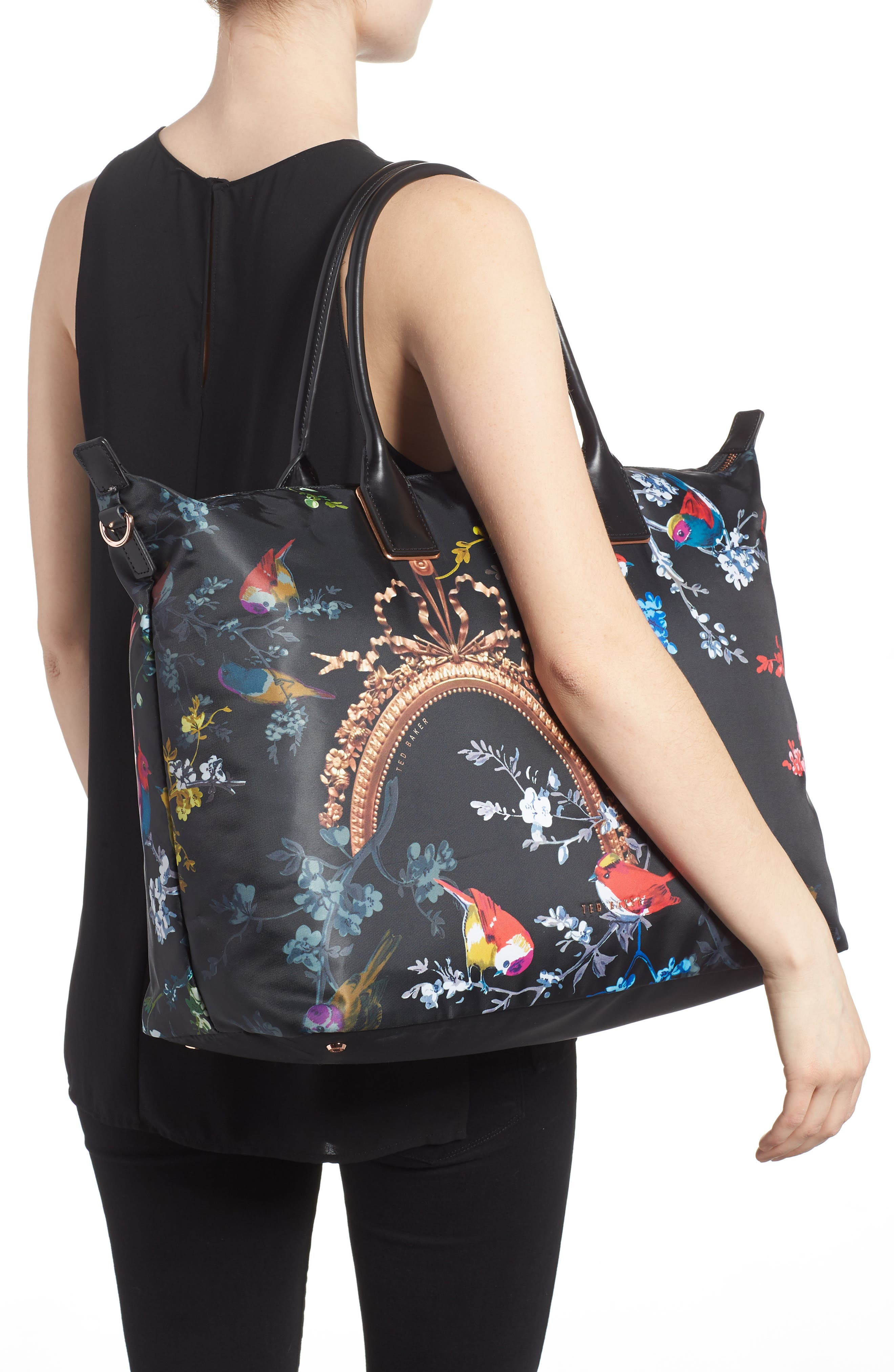 Large Opulent Fauna Tote,                             Alternate thumbnail 2, color,