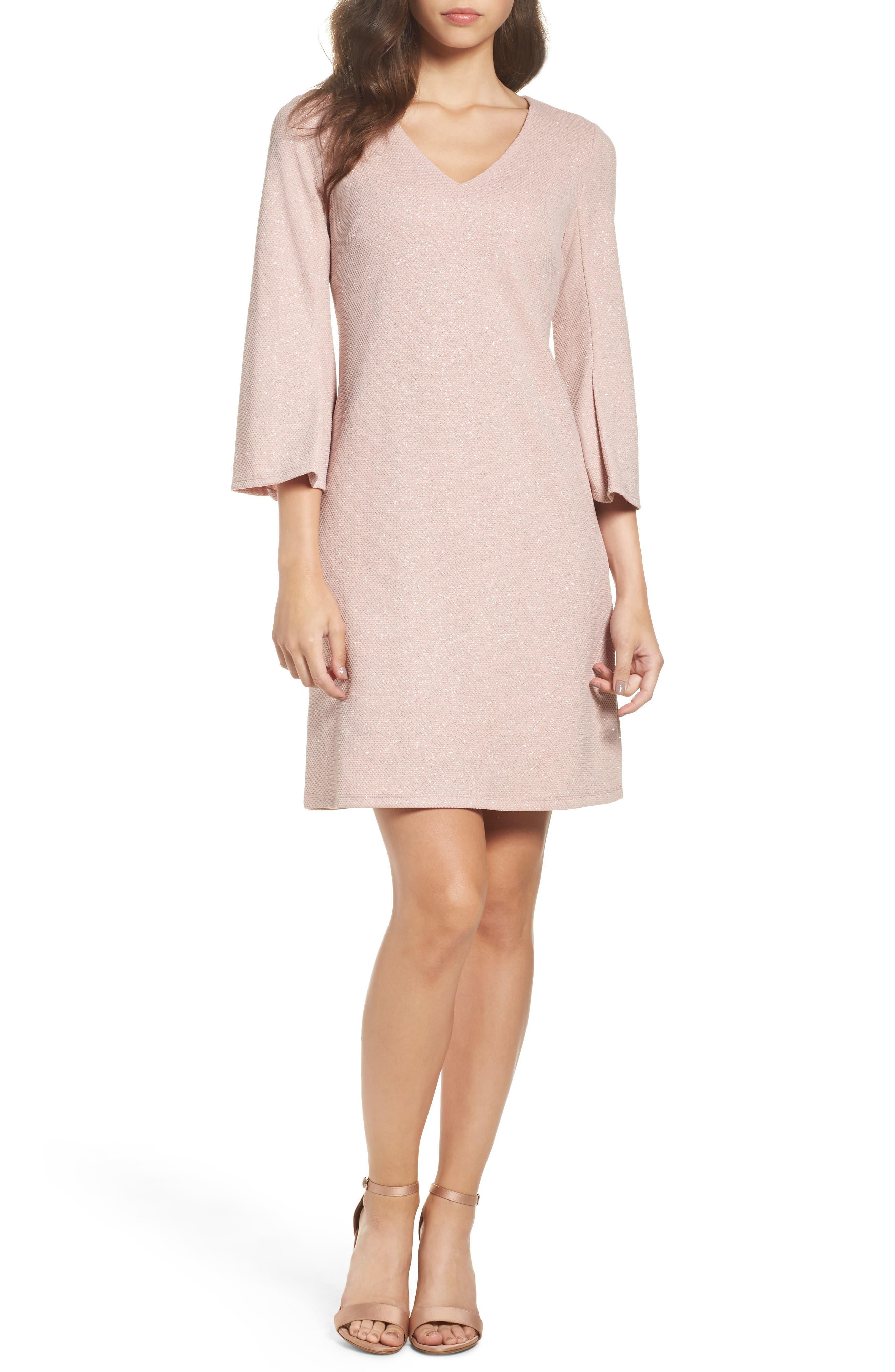 Bell Sleeve Shift Dress,                             Main thumbnail 1, color,