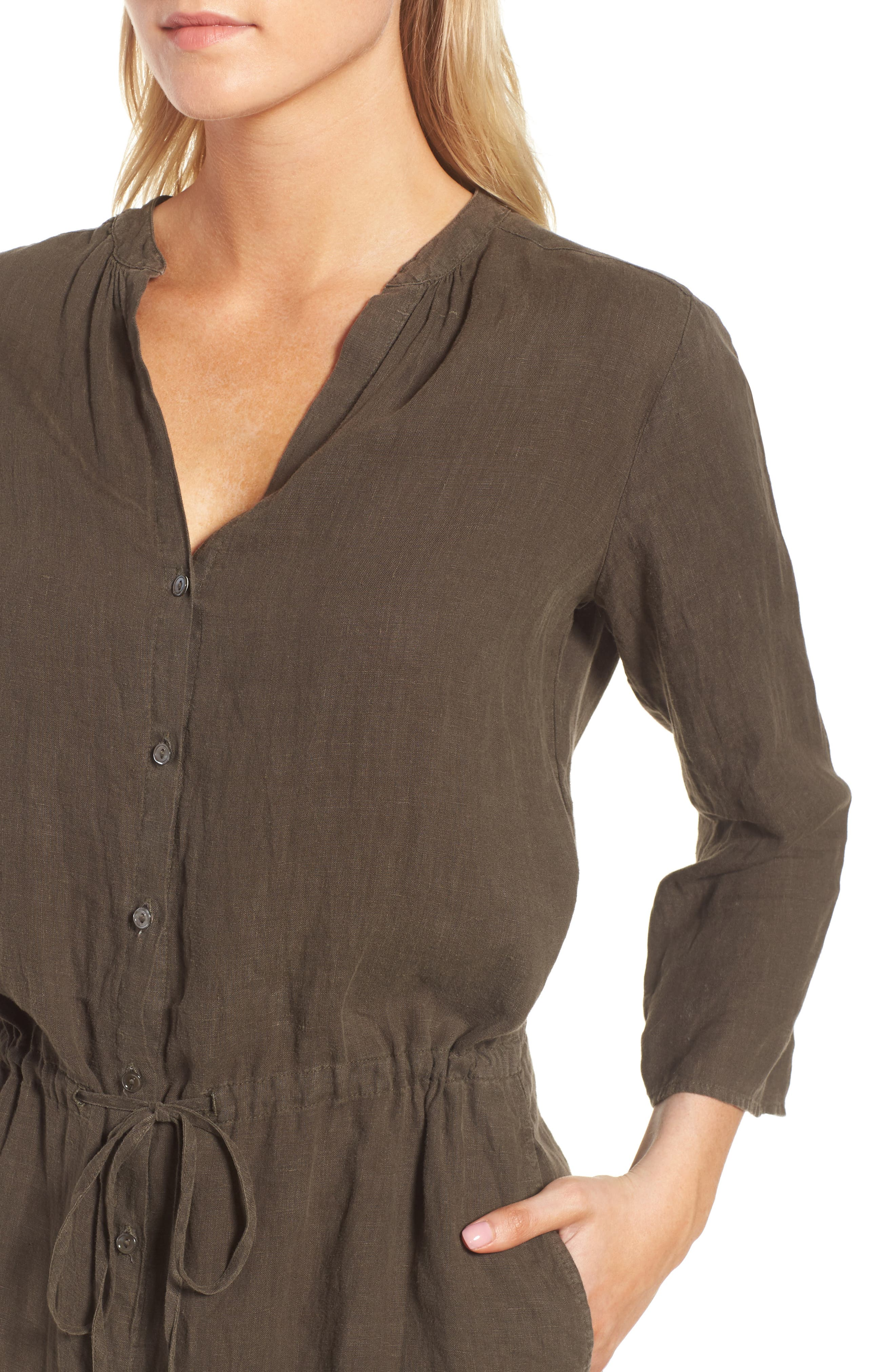 Linen Drawstring Shirtdress,                             Alternate thumbnail 4, color,                             337