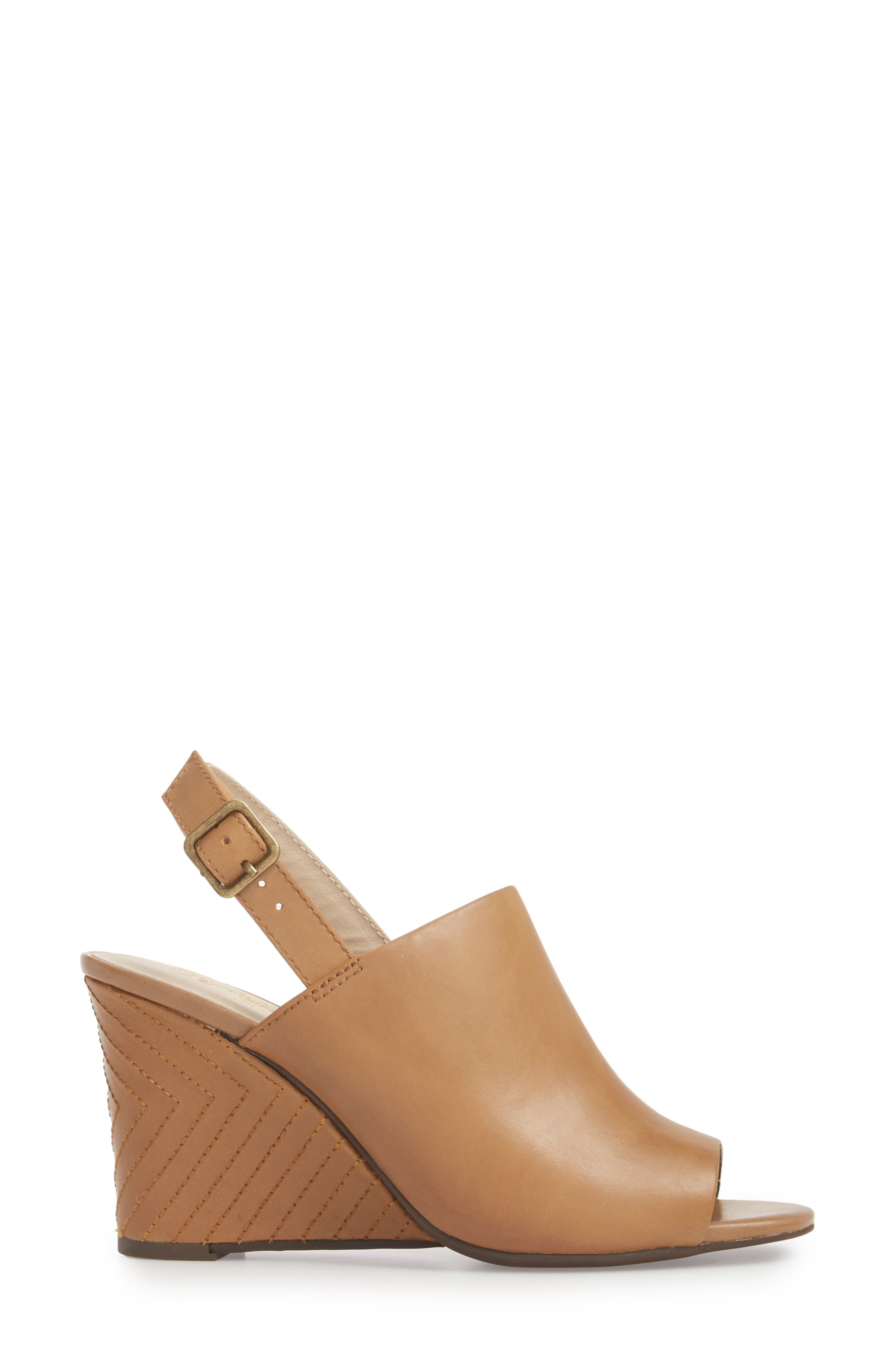 Abyssal Wedge Sandal,                             Alternate thumbnail 3, color,                             TAN LEATHER