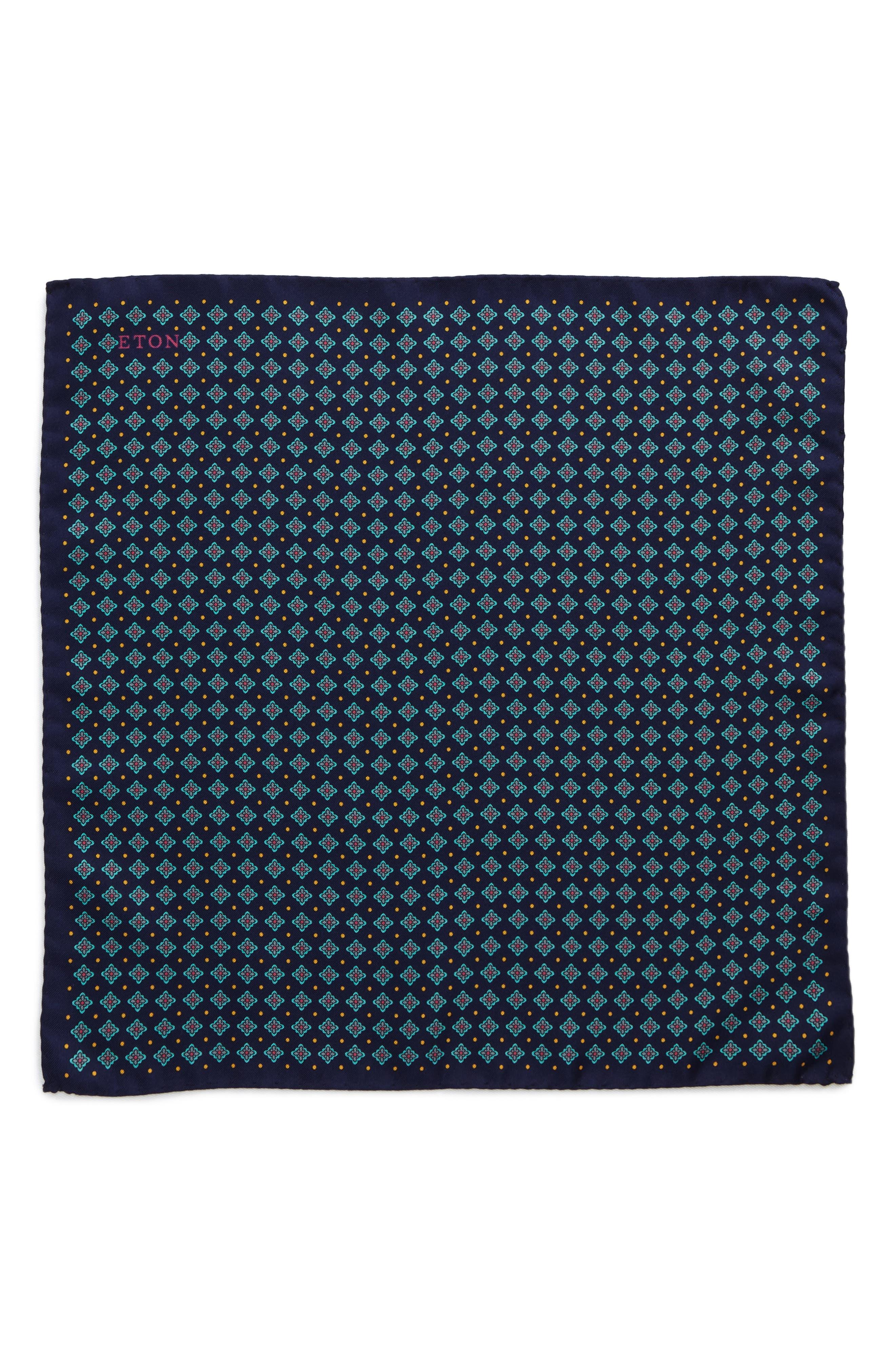 Medallion Silk Pocket Square,                             Alternate thumbnail 2, color,                             400