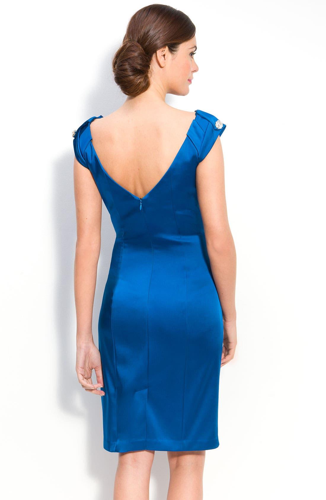 Pleat Neck Stretch Satin Sheath Dress,                             Alternate thumbnail 2, color,                             460
